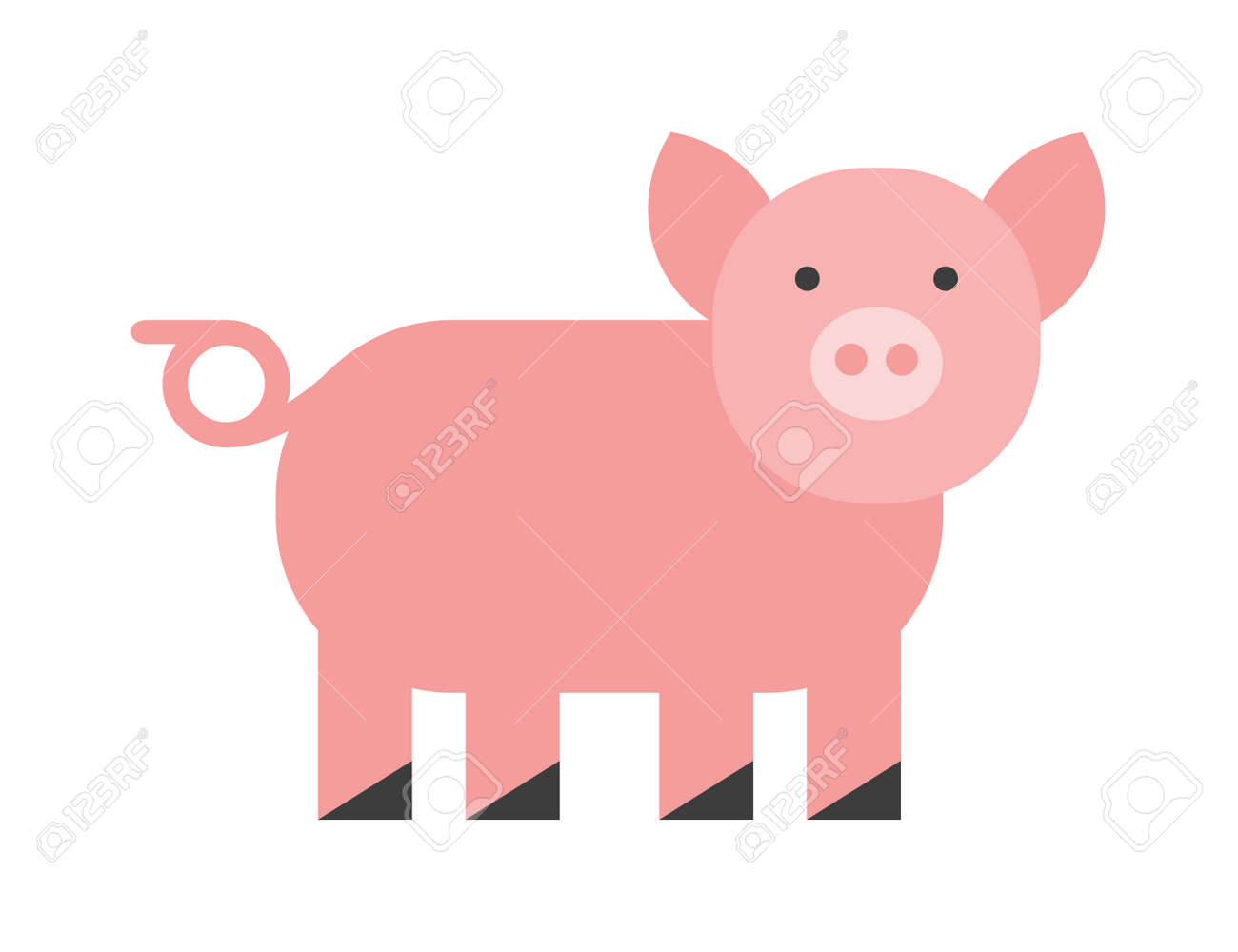 cute pig cheerful pig funny pig vector domestic isolated mammal rh 123rf com pig vectorize logo pig vector outline