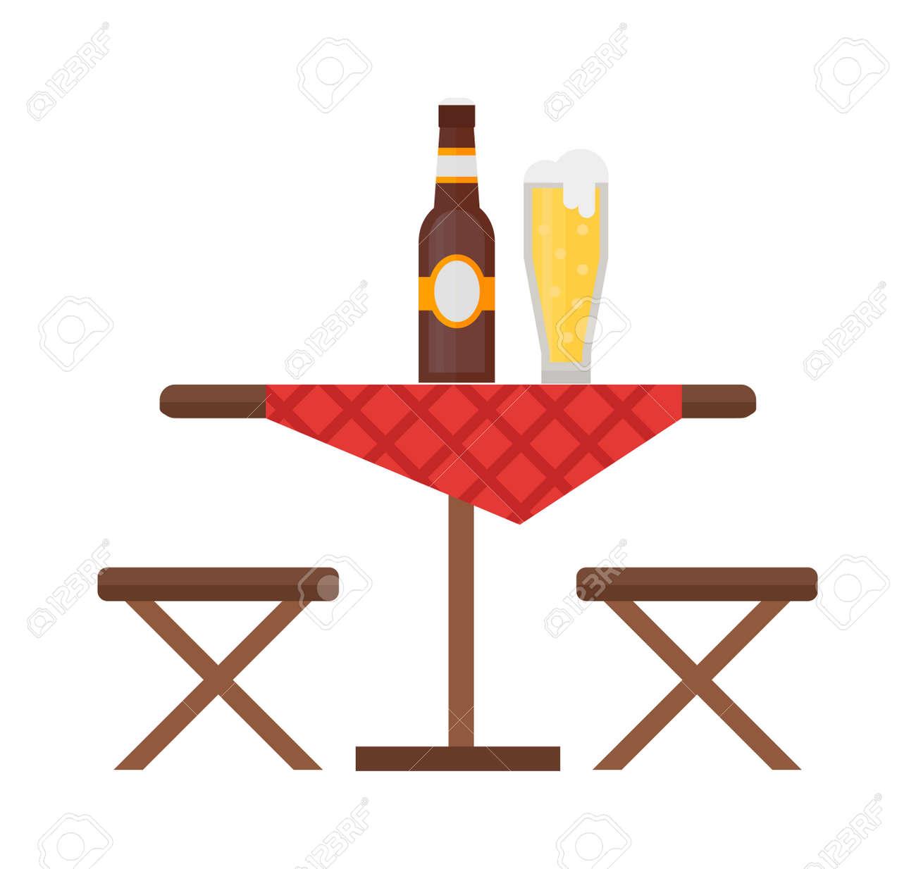 Möbel Leer cingtisch und stuhl vektor gesetzt sommer picknick freizeit