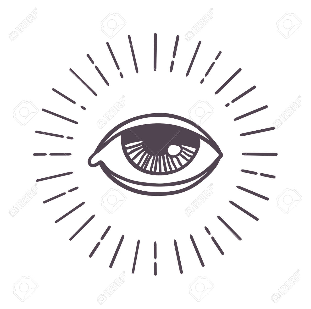 All Seeing Eye Symbol On Light Background And Eye Sun Vector
