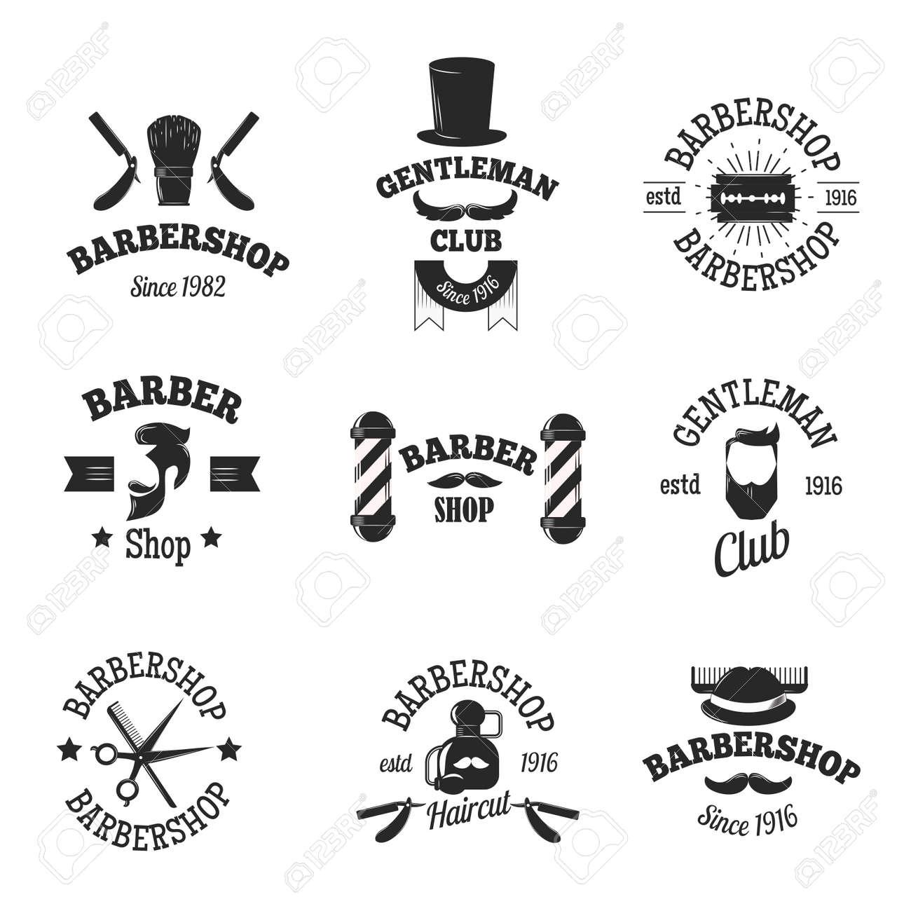 Clip art vector of vintage barber shop logo graphics and icon vector - Set Of Vintage Barber Shop Logo Graphics And Barber Shops Logo Icons Vector Barber Badges
