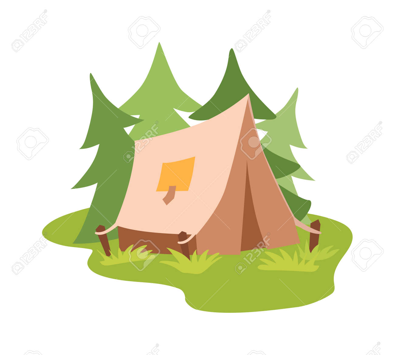 Forest c&ing vector concept with tourist outdoor tent. Outdoor tent summer nature leisure and activity  sc 1 st  123RF Stock Photos & Forest Camping Vector Concept With Tourist Outdoor Tent. Outdoor ...