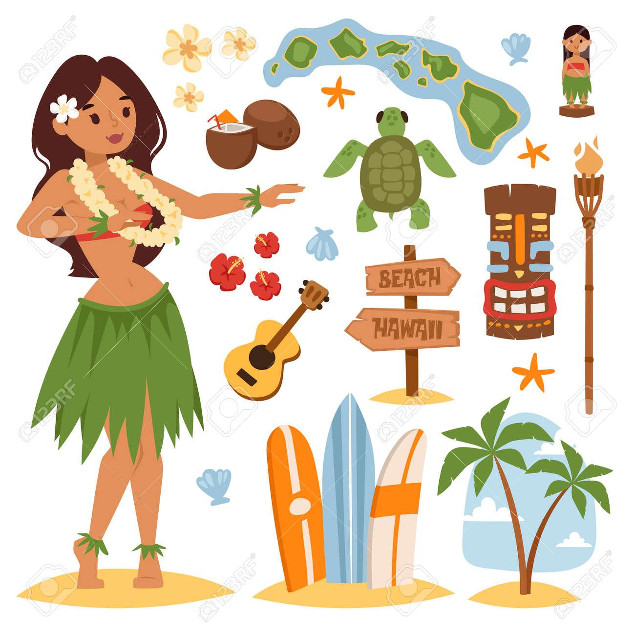 La Vendimia Del Vector Conjunto De Iconos Y Simbolos Hawaiano