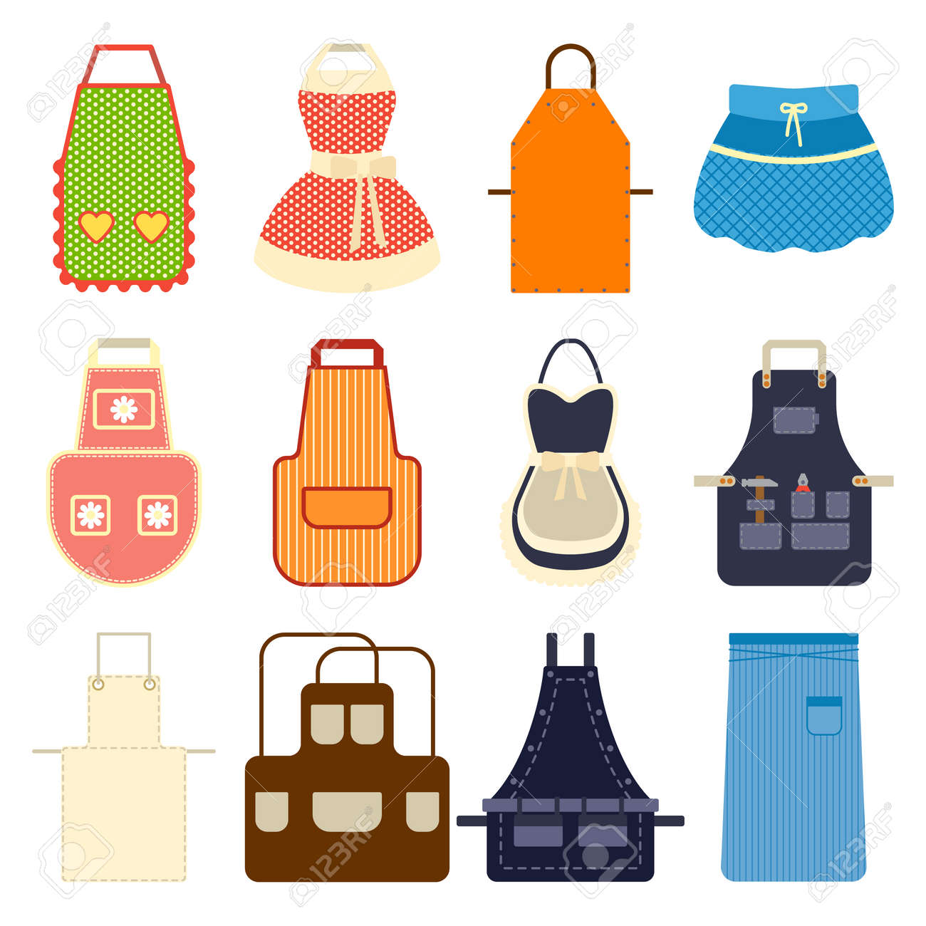 Kitchen Apron Set. Collection Aprons On White. Female Vector ...