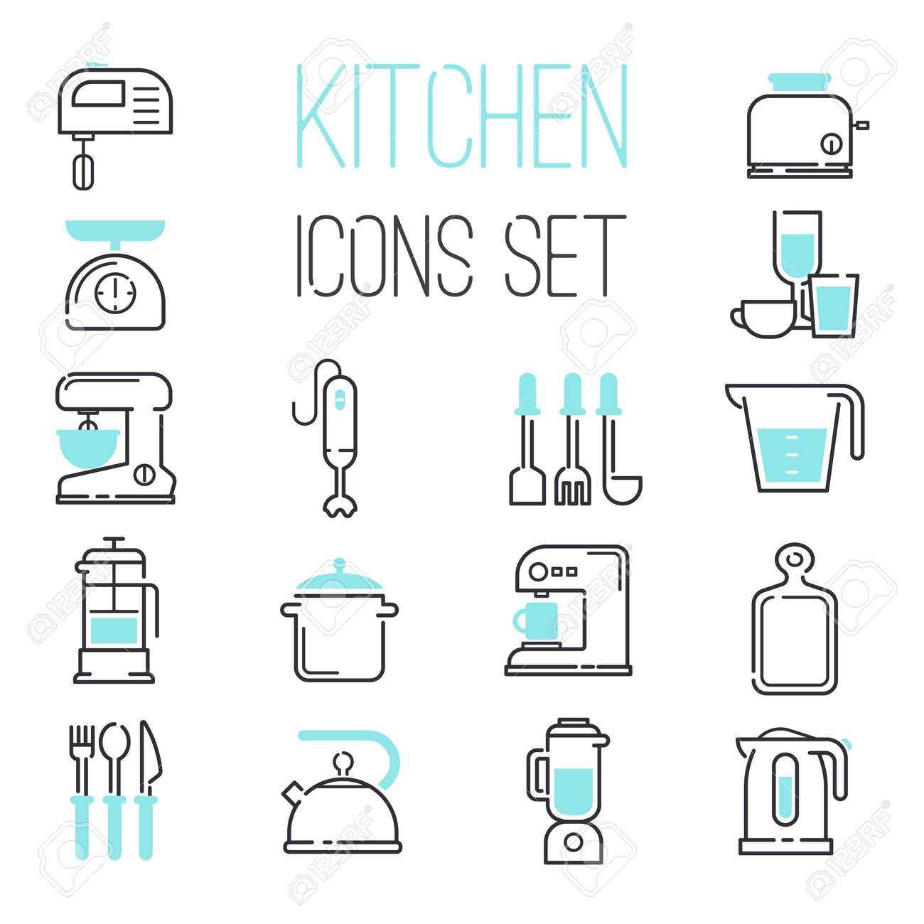 Kuche Und Kochen Symbole Weiss Vektor Illustration Kuche Icons