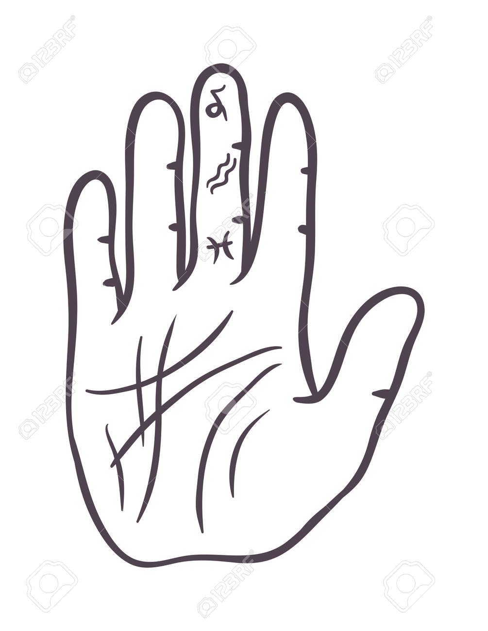 Pencil drawing fist hand sketch gesture vector illustration