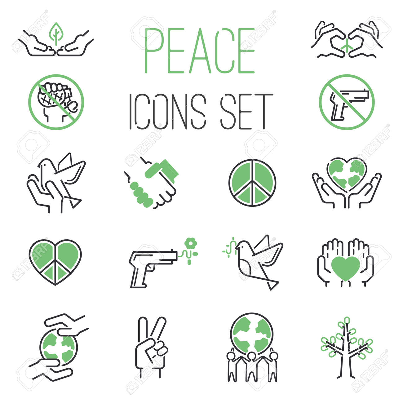 Peace icons outline mono vector symbols world hope peace icons peace icons outline mono vector symbols world hope peace icons heart design dove set biocorpaavc Images
