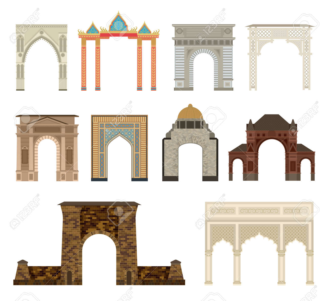 Arco Del Vector Fijado Arquitectura Antigua Marco De Arco. Columna ...