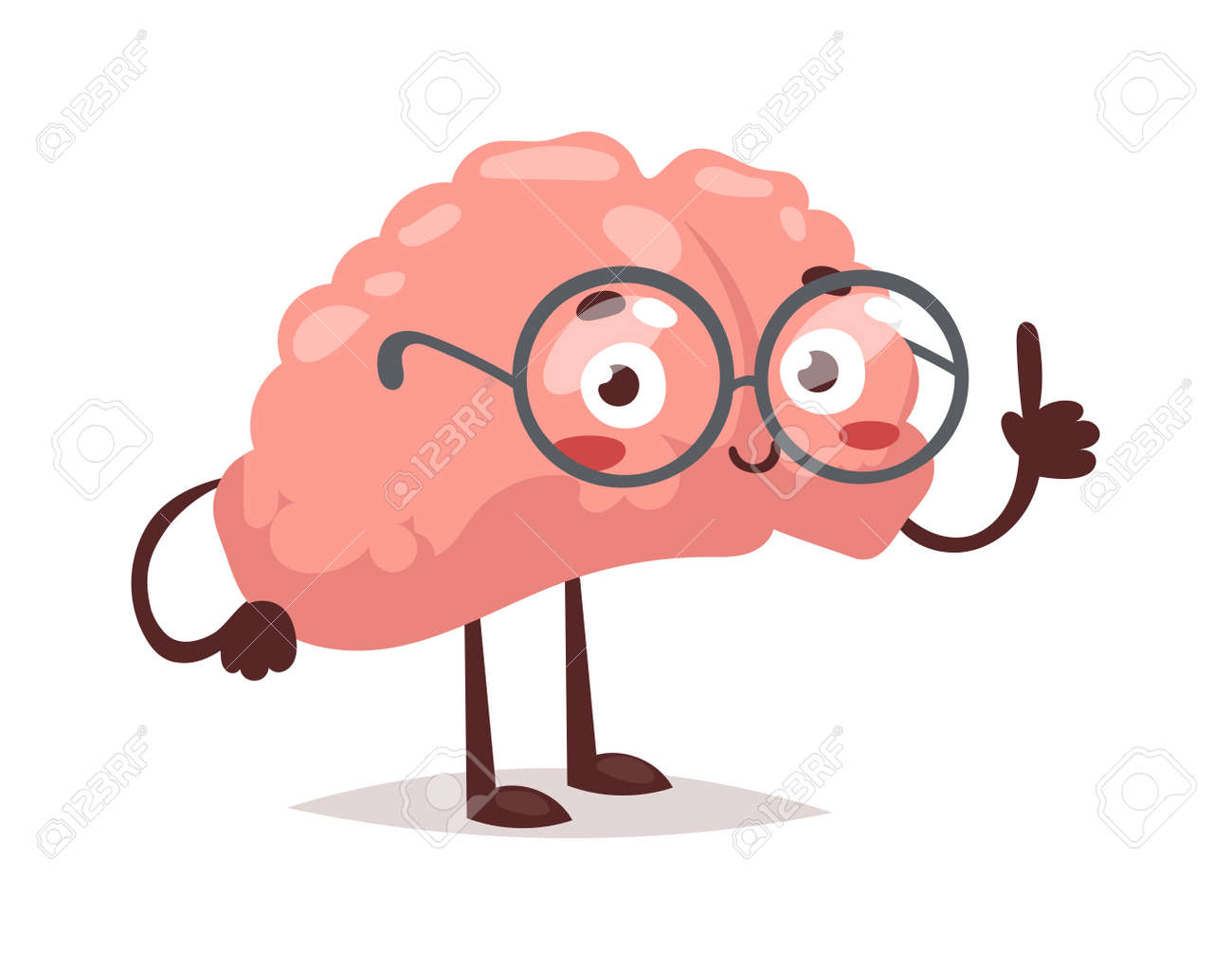 Smart Brain Character Cartoon Mind Cute Human Organ. Creativity ... for Smart Cartoon Brain  270bof