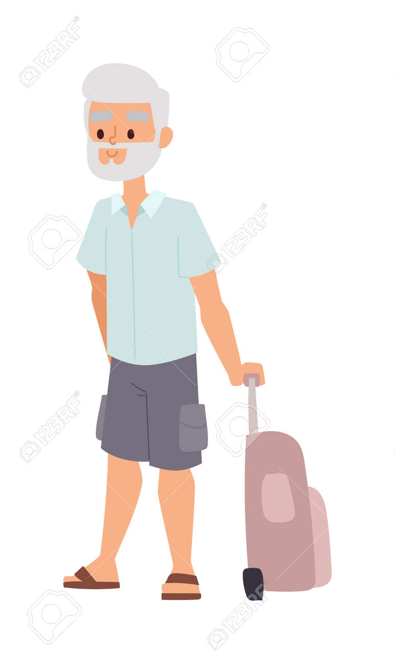 Summer old man people vacation traveling. Vacation old people happy family travel. Traveling pensioner man on vacation character vector illustration. - 59341388