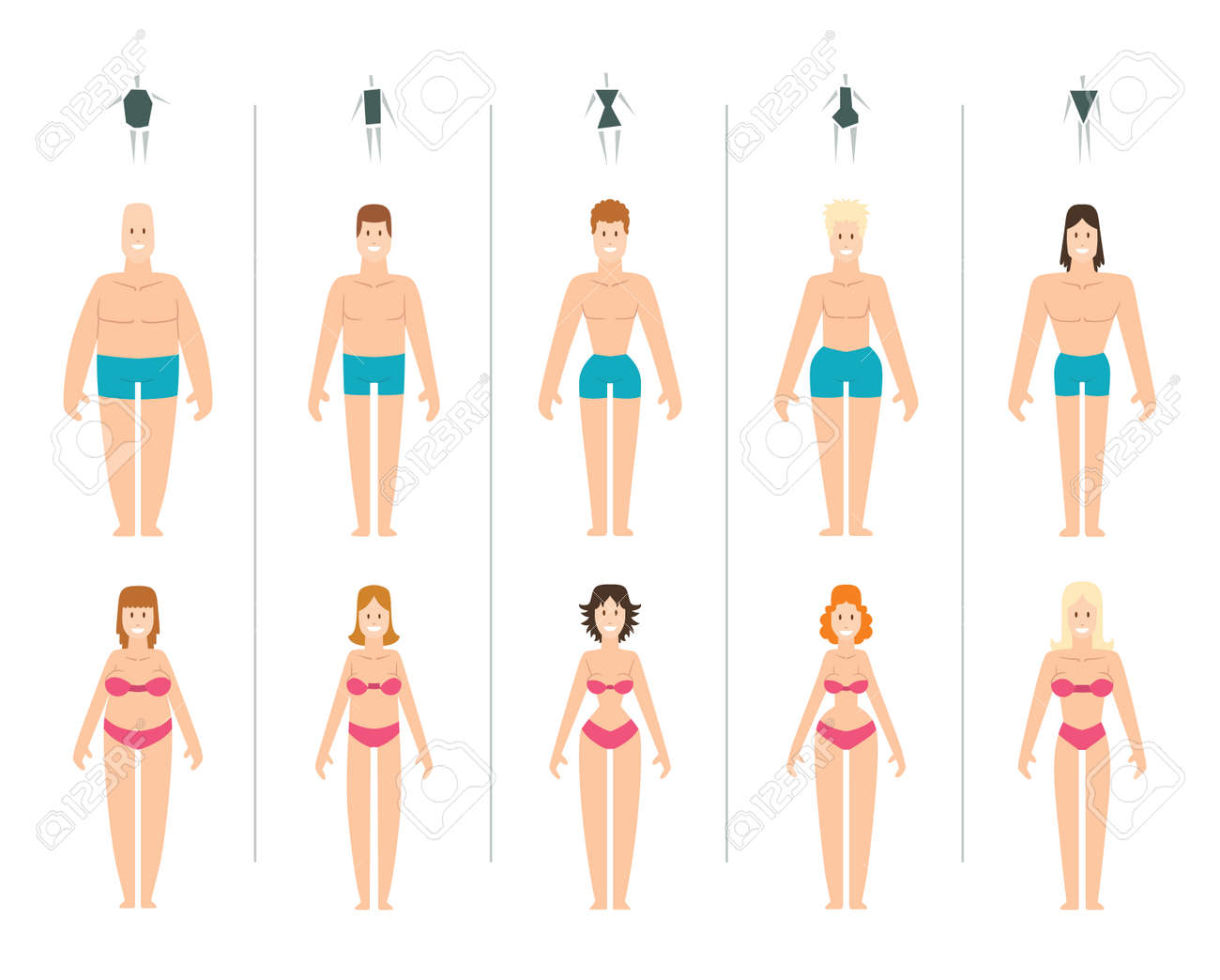 Female body types vector illustration. Body types slim anatomy constitution hourglass women proportions set. Style rectangle waist body types figure shape female silhouette. Fashion girl beauty body. - 59341843