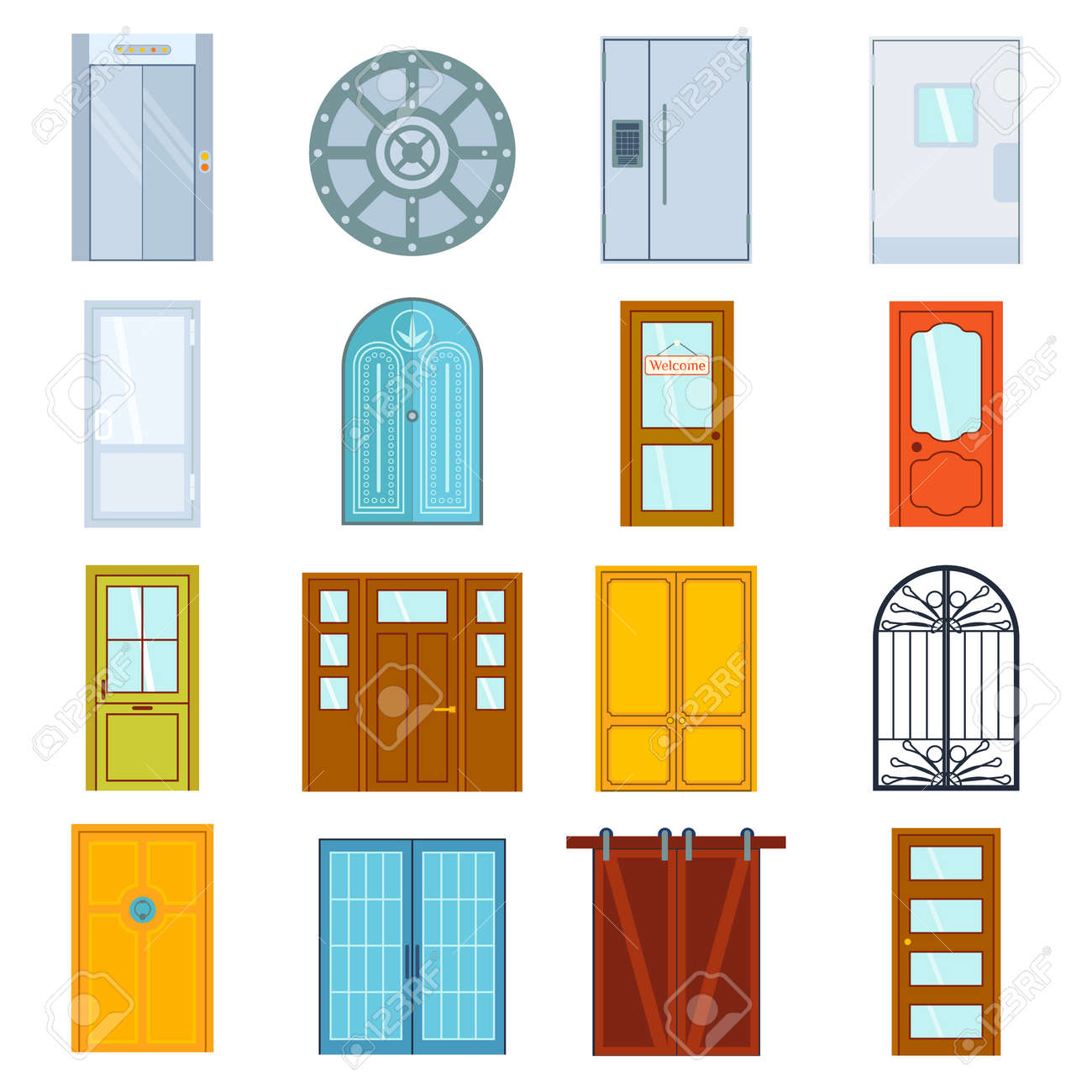 Set Of Color Doors Isolated On White. Colorful Front Doors To Houses And  Buildings Set