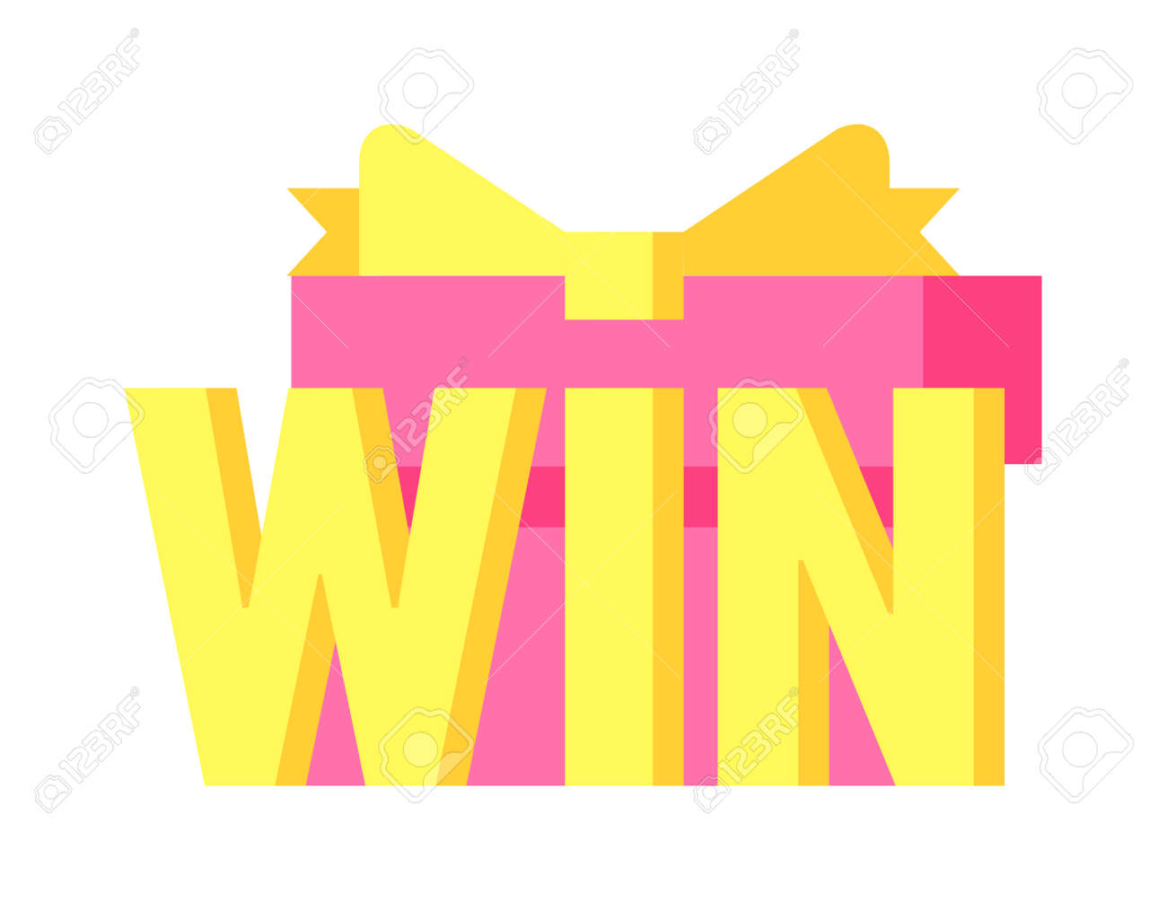 win sign with colour confetti vector paper illustration success