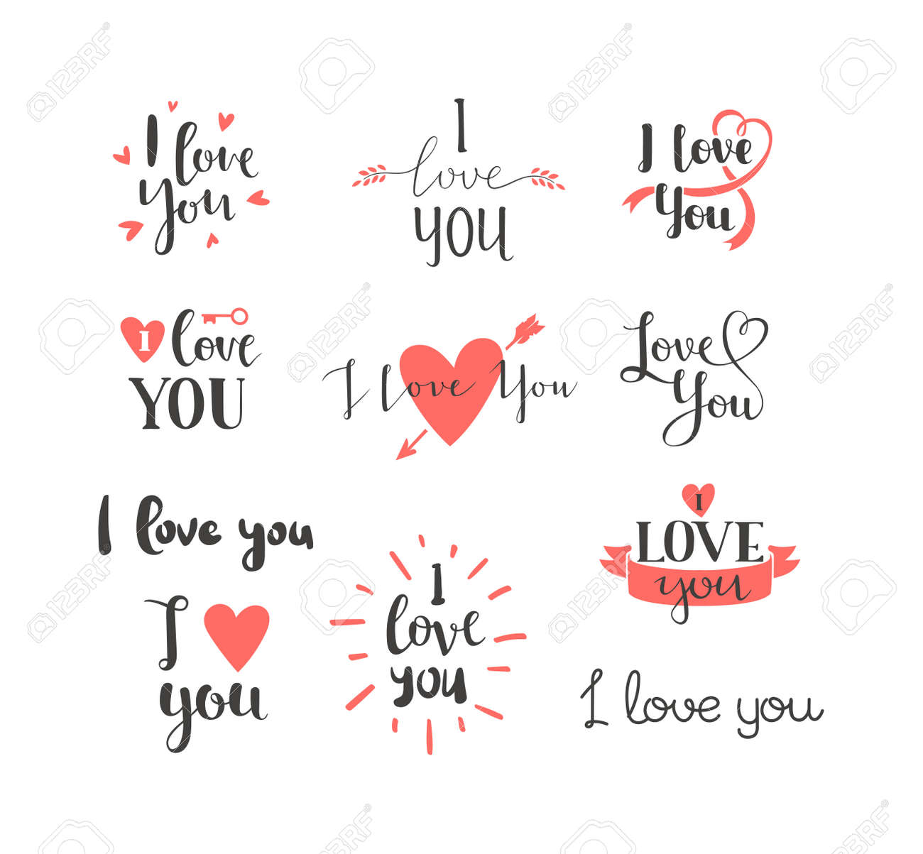 Free I Love You Quotes Vector I Love You Hand Drawn Lettering Textinspirational Quote