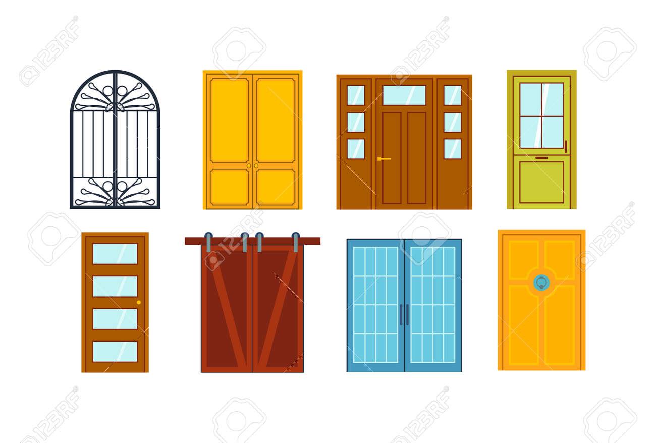 conjunto de puertas del color aislados en blanco puertas delanteras de colores para casas y