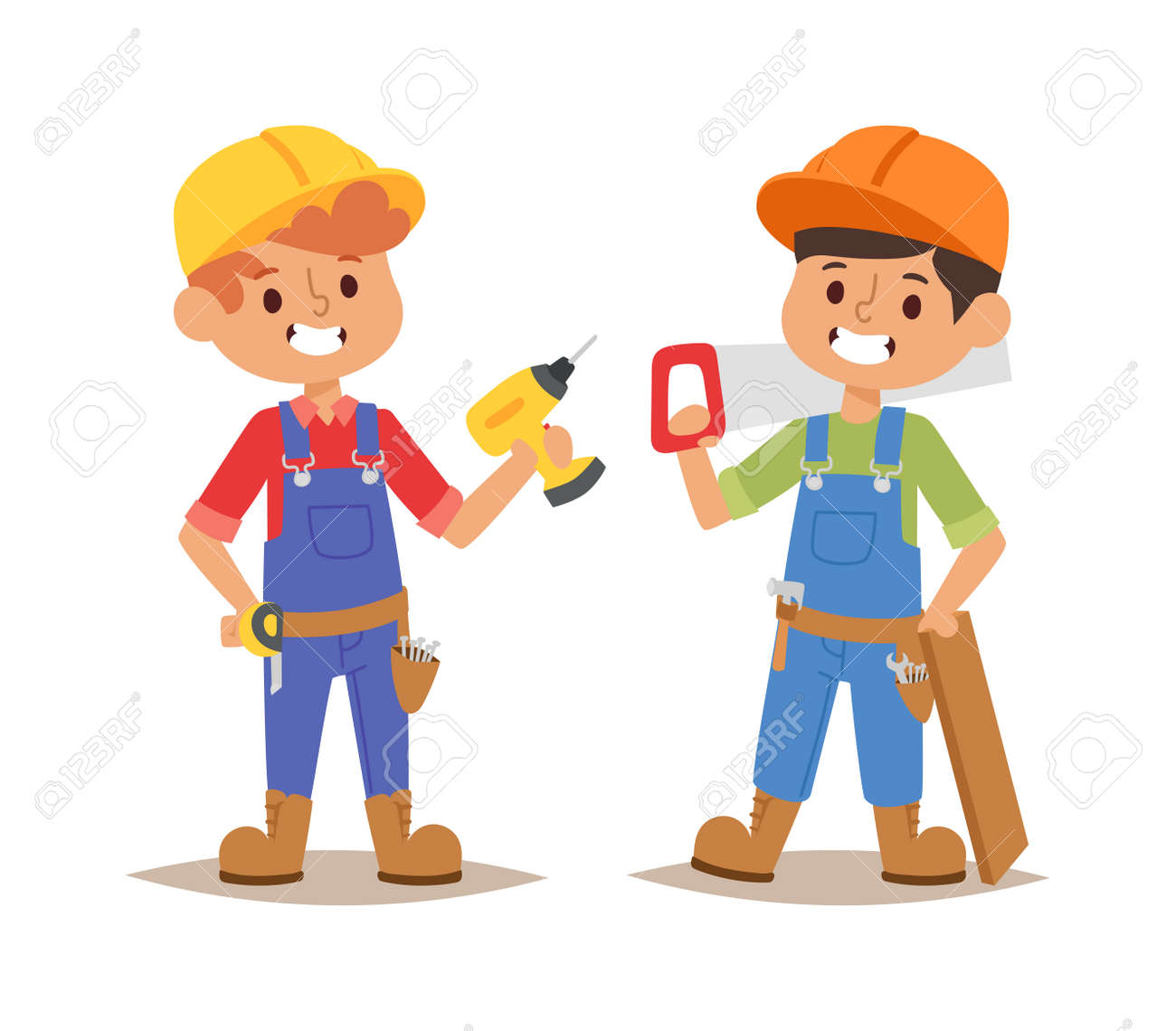 Builders Kids Carpenter Builder With Tools Vector Character Royalty Free Cliparts Vectors And Stock Illustration Image 60453367