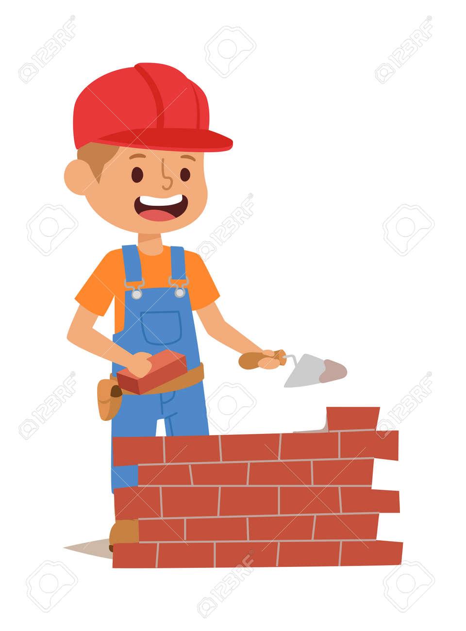 builders kids bricks wall builder with tools vector character rh 123rf com vektor builders international llc vektor builders international