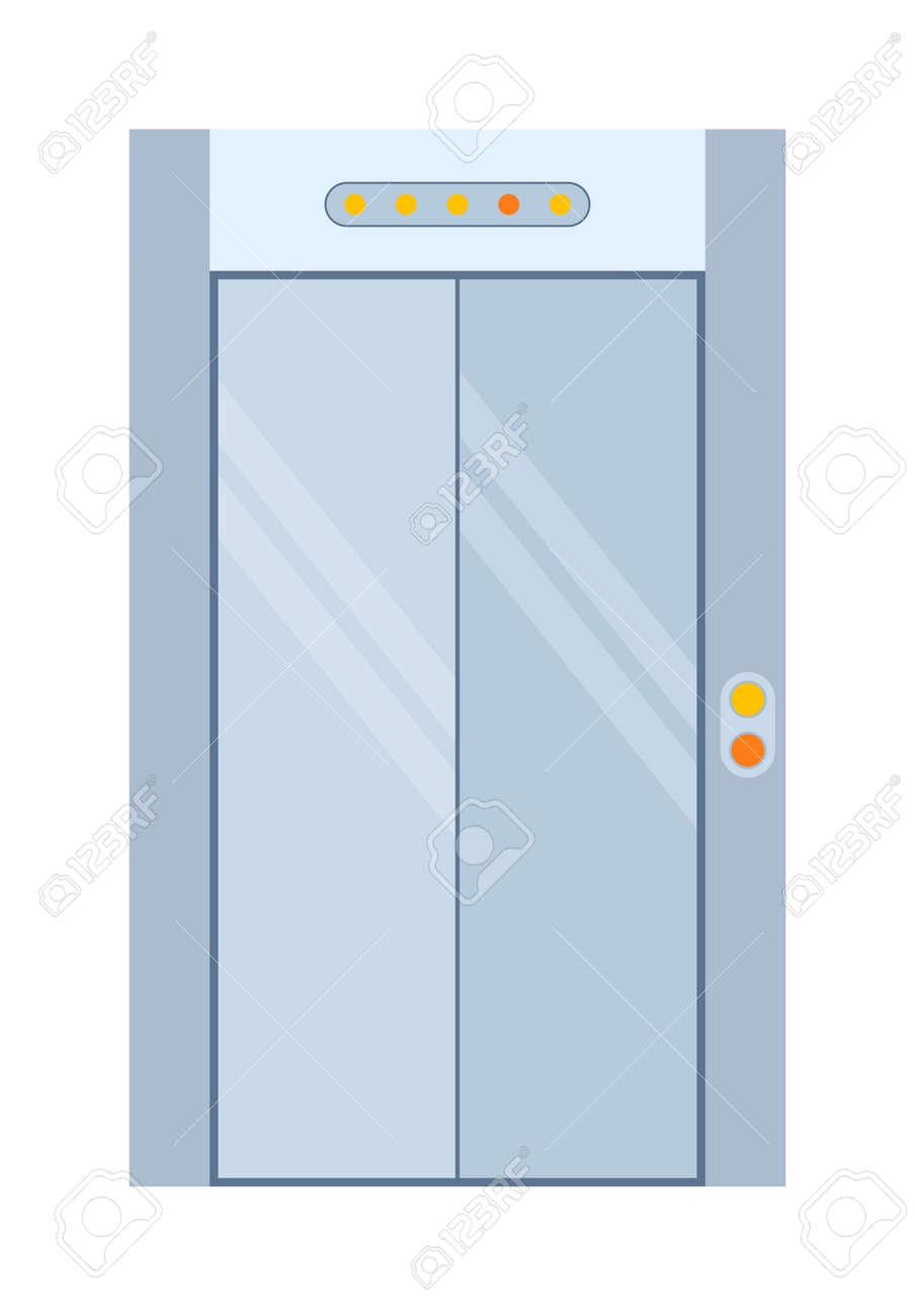 Farbe Aufzugstür Isoliert Auf Weiß. Bunte Haustür Zu Haus Und Gebäude Im  Flachen Design