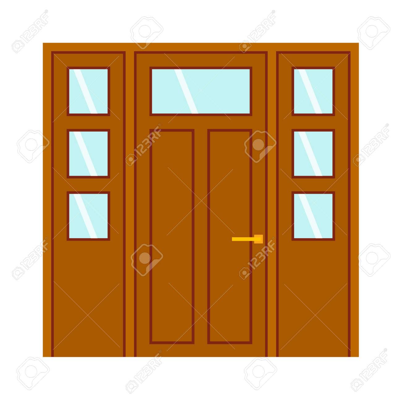Farbe Tür Isoliert Auf Weiß. Bunte Haustür Zu Haus Und Gebäude Im ...