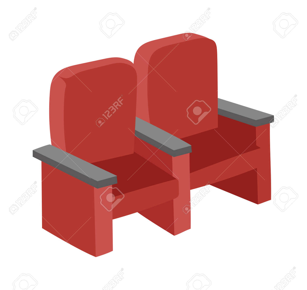 Cinema Chairs Movie Tools In Flat Design Background Concept. Armchairs  Cinema. Icons Cnema Chairs