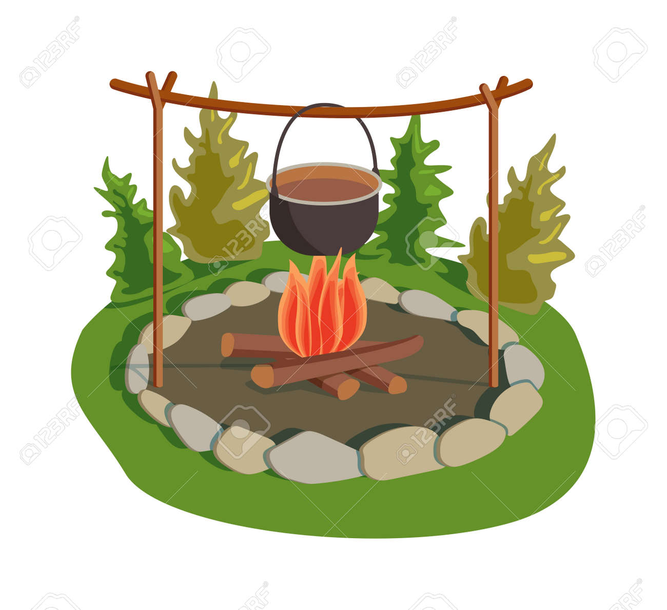 Isolated Bonfire With Camping Pot On White And Fresh Warm Food