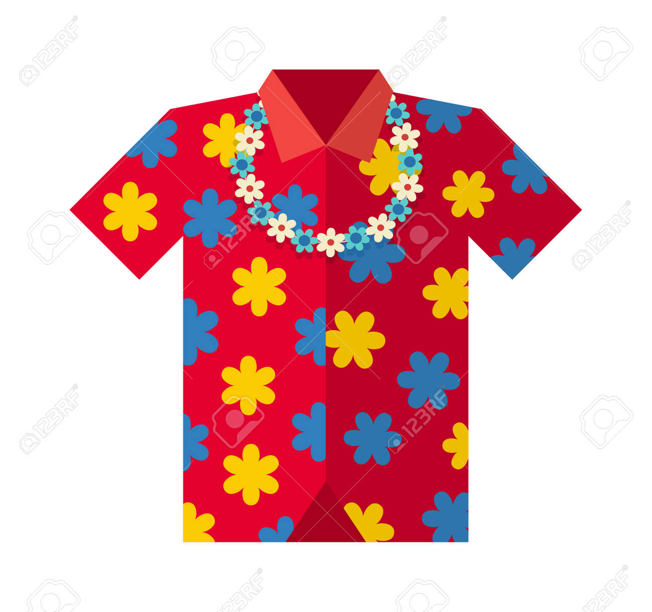 Hawaiian Aloha Shirt Vector Illustration Hawaii And Fashion Beach Male Cloth