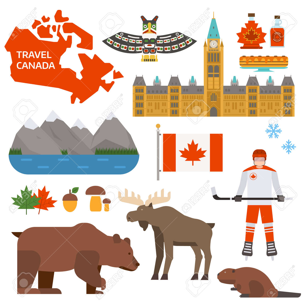 Travel canada traditional objects and maple canada symbols vector travel canada traditional objects and maple canada symbols vector canada symbols and national travel culture biocorpaavc
