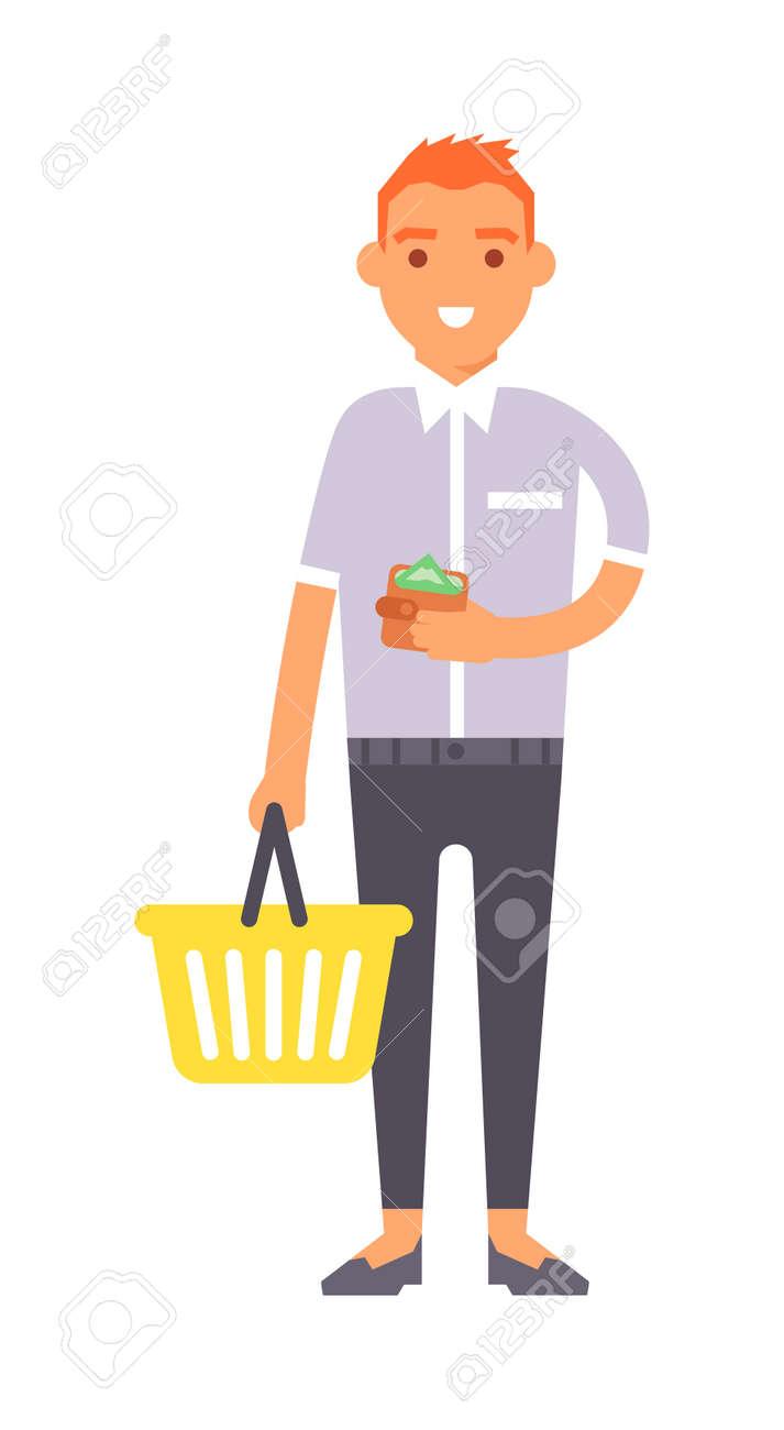 young boy wish shop list pushing supermarket shopping cart full