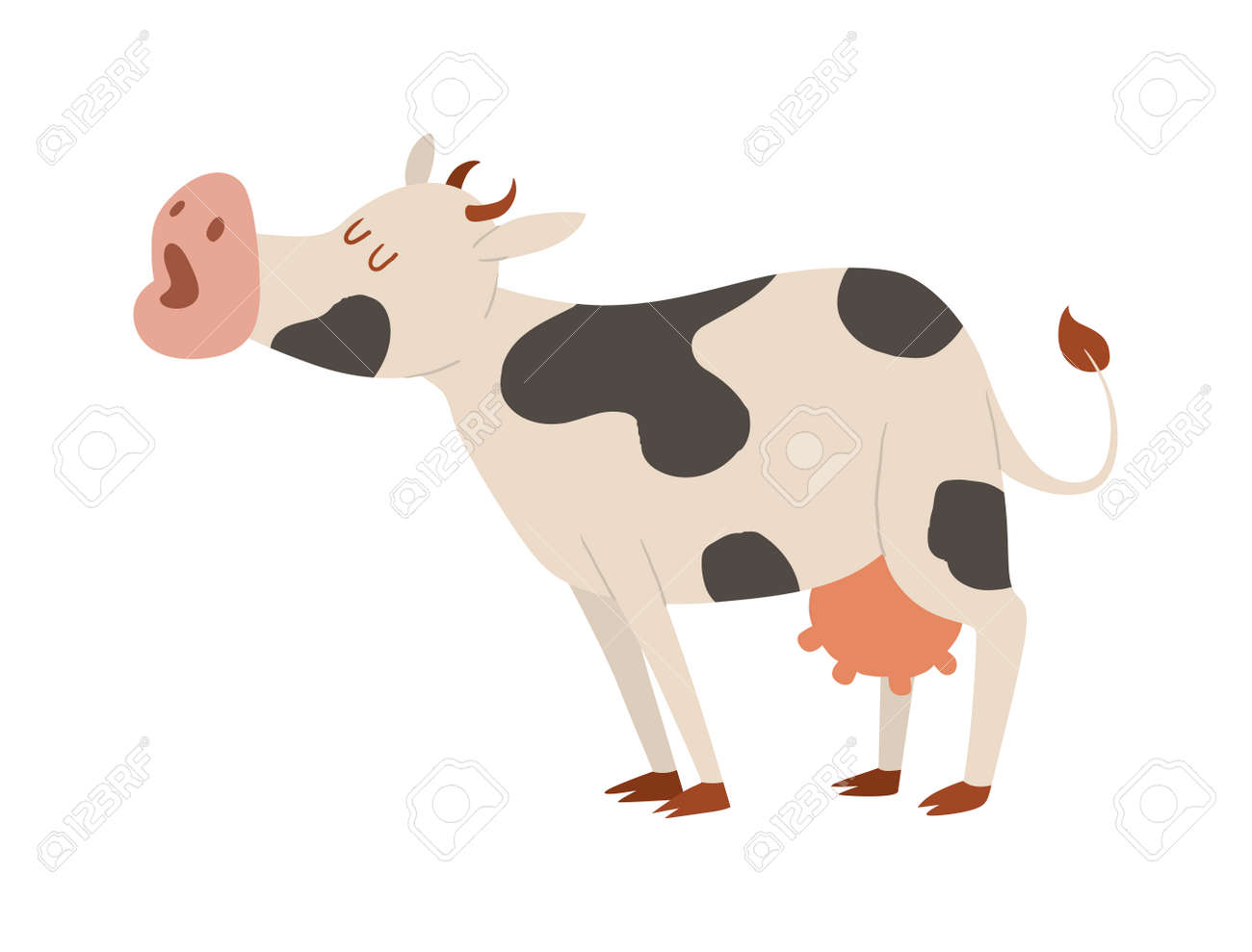 Milk Cow Bull Buffalo Cartoon Character. Cartoon Cow Color Dairy ...
