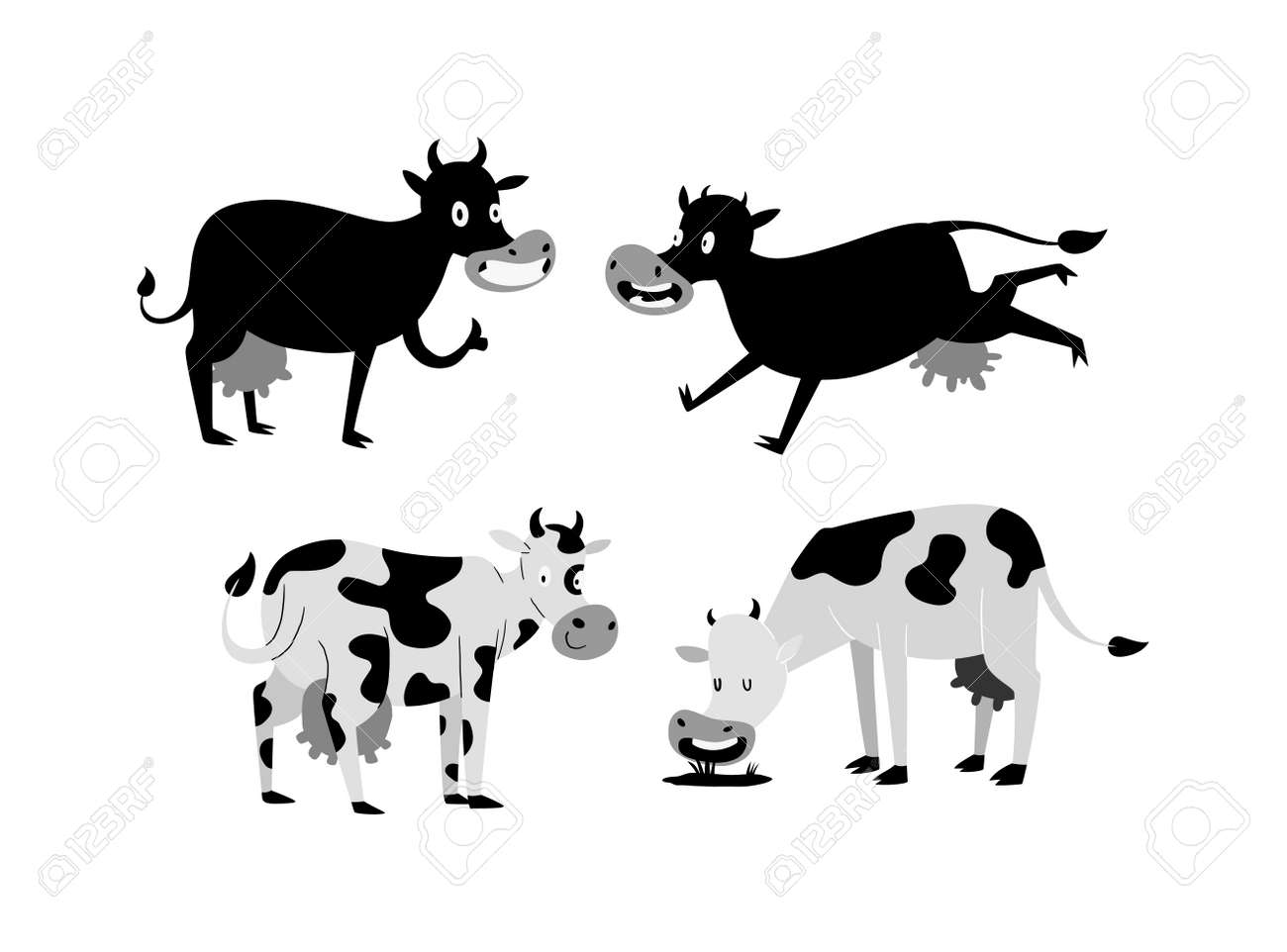 Milk Cow Bull With Calf Buffalo Different Cows Colors Dairy Farm Beef Nature