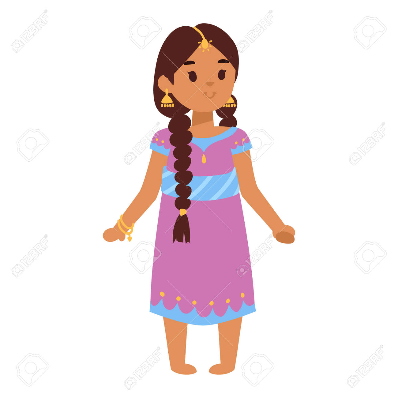 Vector Illustration Of Indian Culture Woman Standing Figure