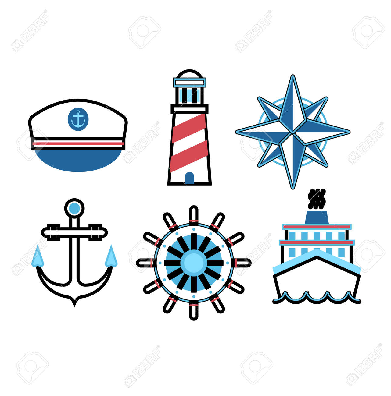 set of marine sea icons and nautical decorations isolated