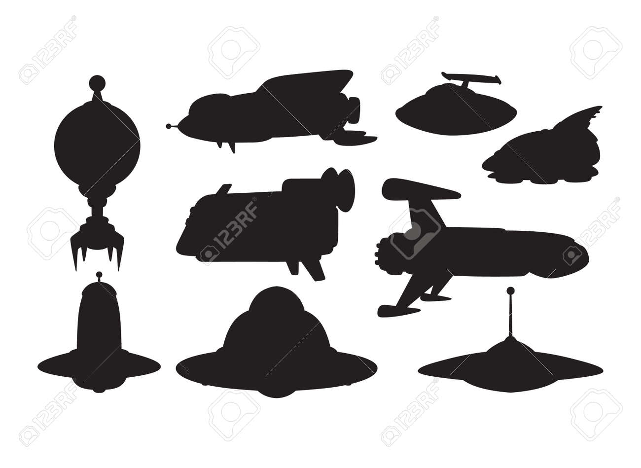 big collection of ufo crafts and space stations silhouette vector