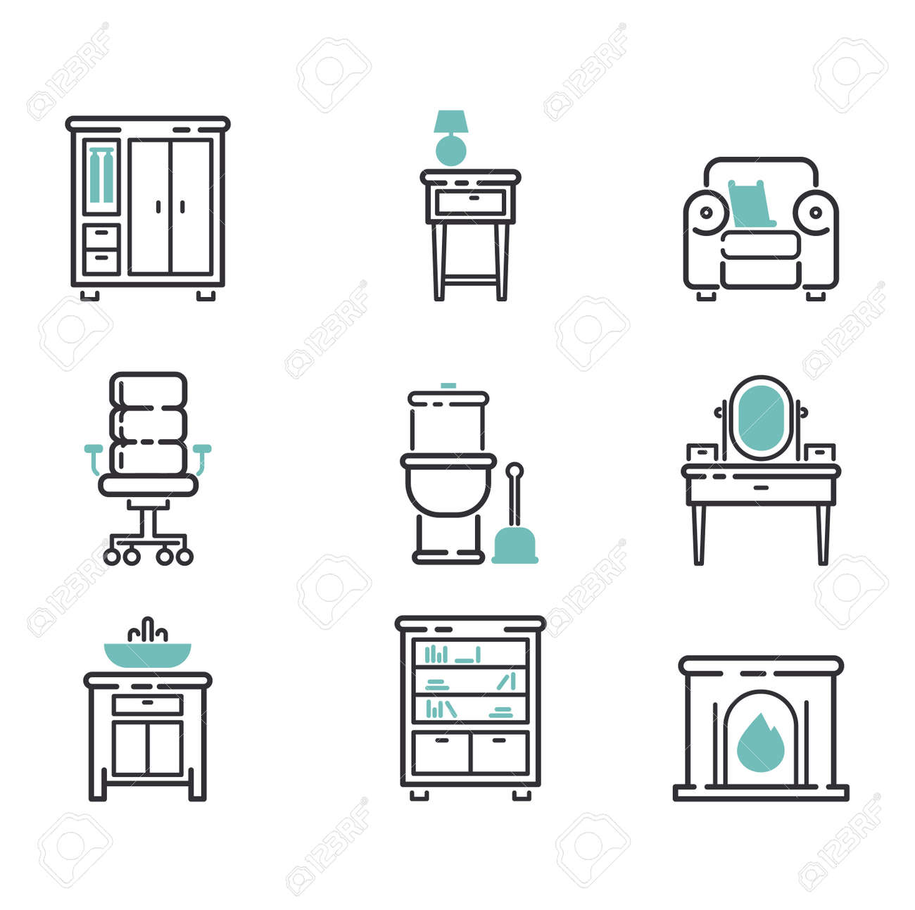 Furniture And Home Decor Icon Set Vector Illustration Indoor