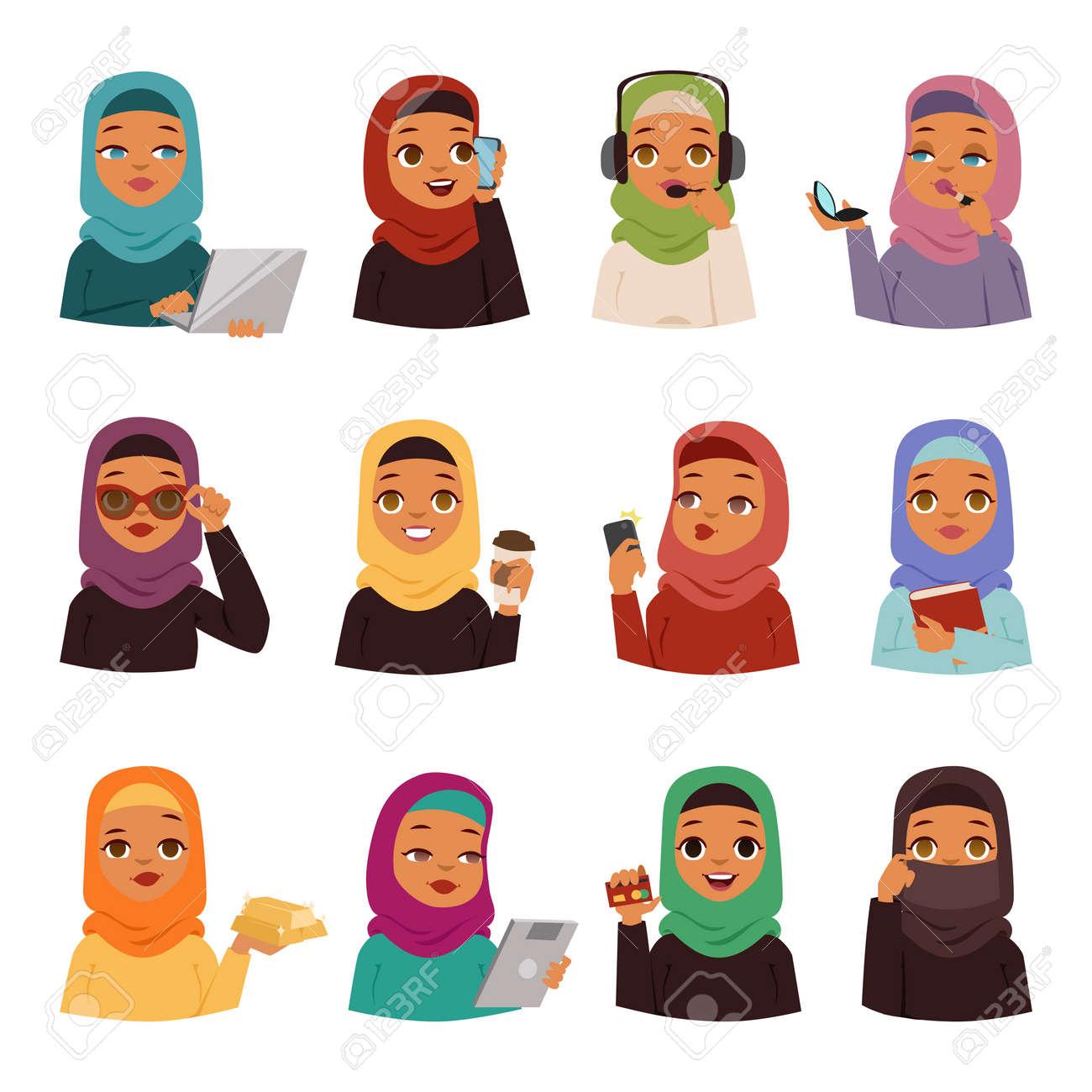 Muslim religious women set traditional islamic adult cute cartoon arabic girls traditional dress pretty ethnicity
