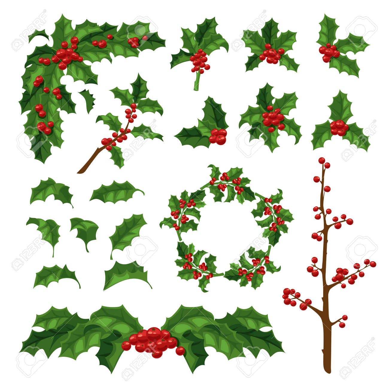 Merry Christmas Mistletoe With Berry Frame. Traditional Hand ...