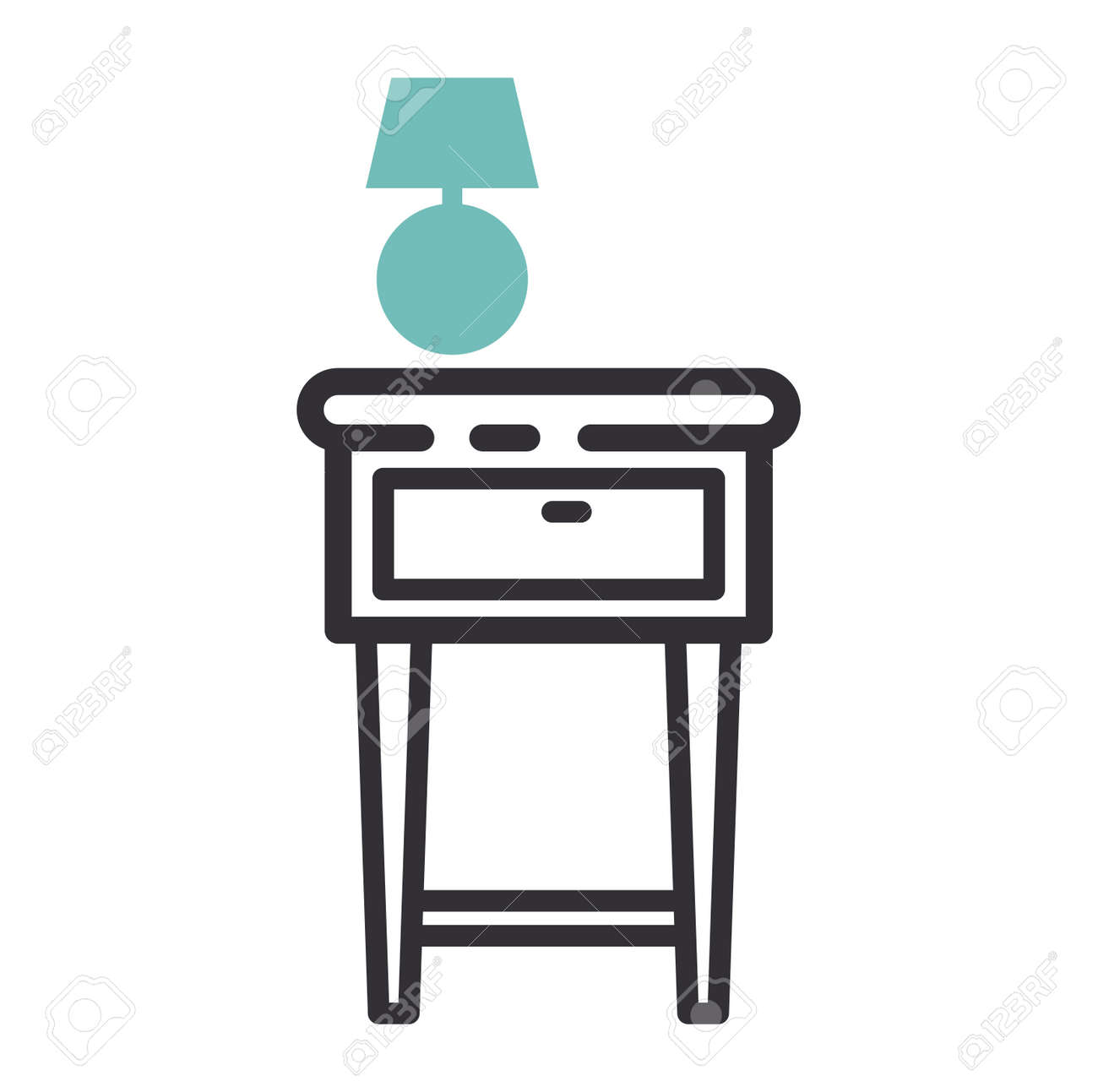 Furniture And Home Decor Icon Vector Illustration. Indoor Cabinet Interior  Room Sign, Office Bookshelf