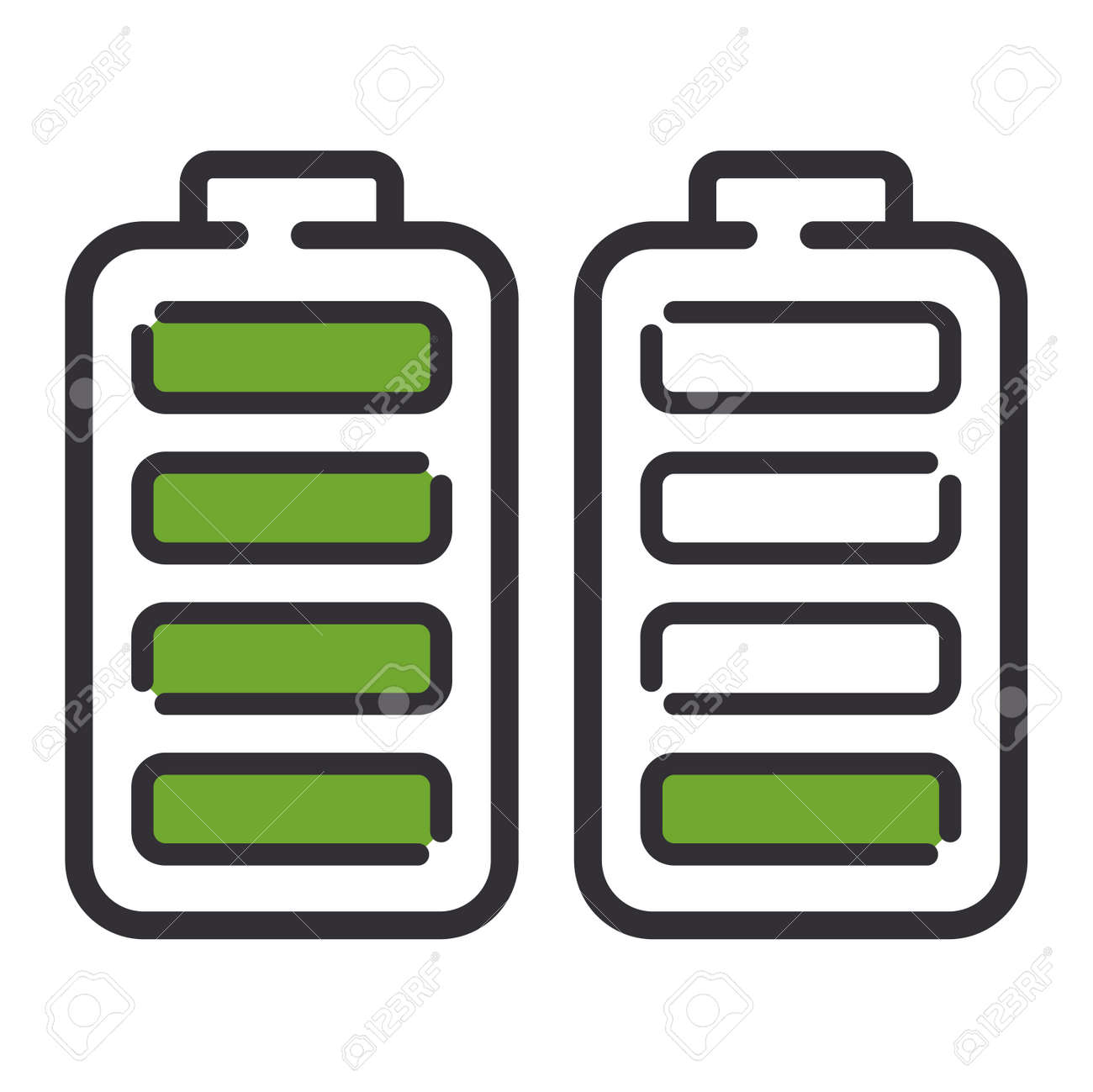 Battery Electricity Charge Technology And Alkaline Battery. Flat ...