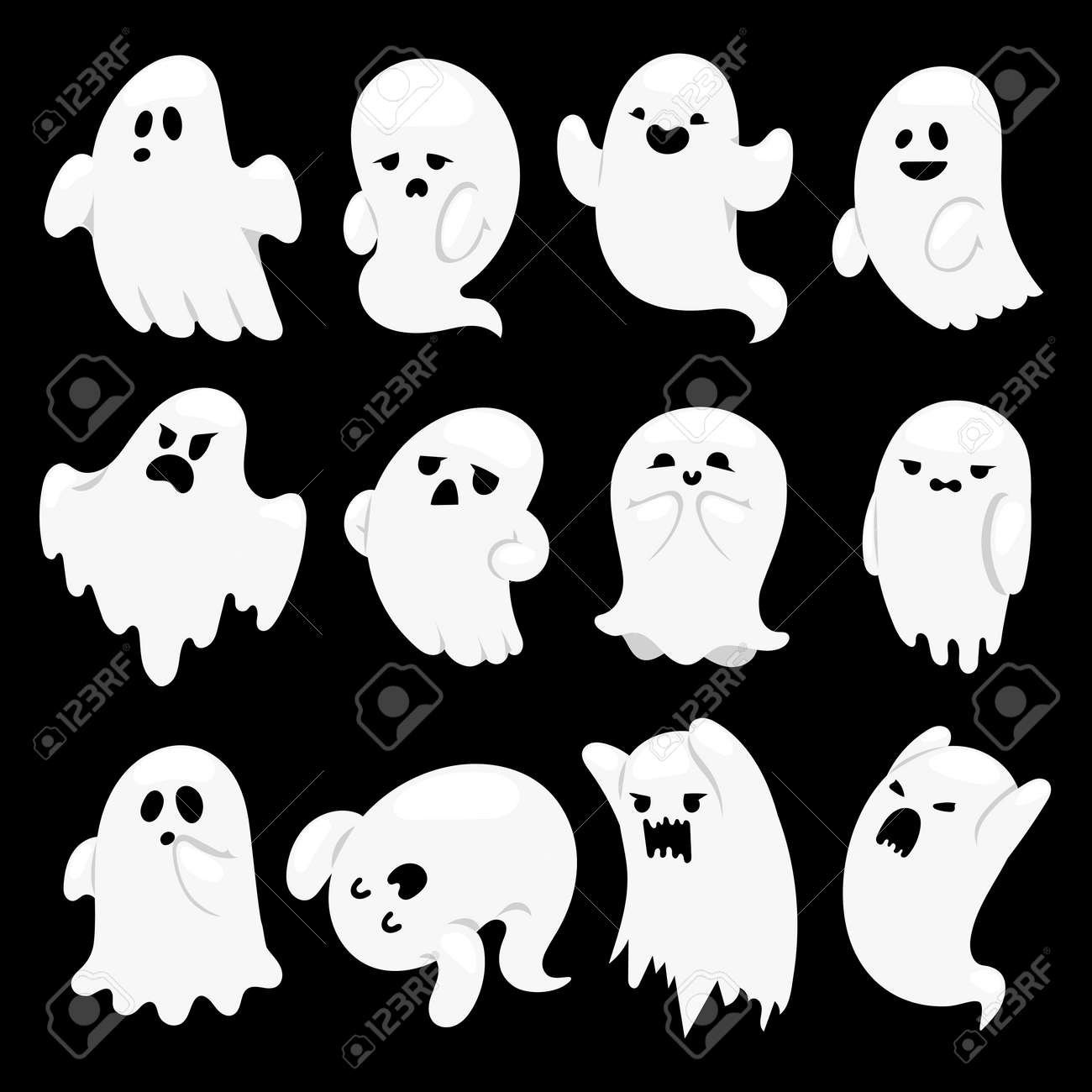Cartoon spooky ghost character vector set spooky and scary holiday cartoon spooky ghost character vector set spooky and scary holiday monster design ghost character publicscrutiny Images