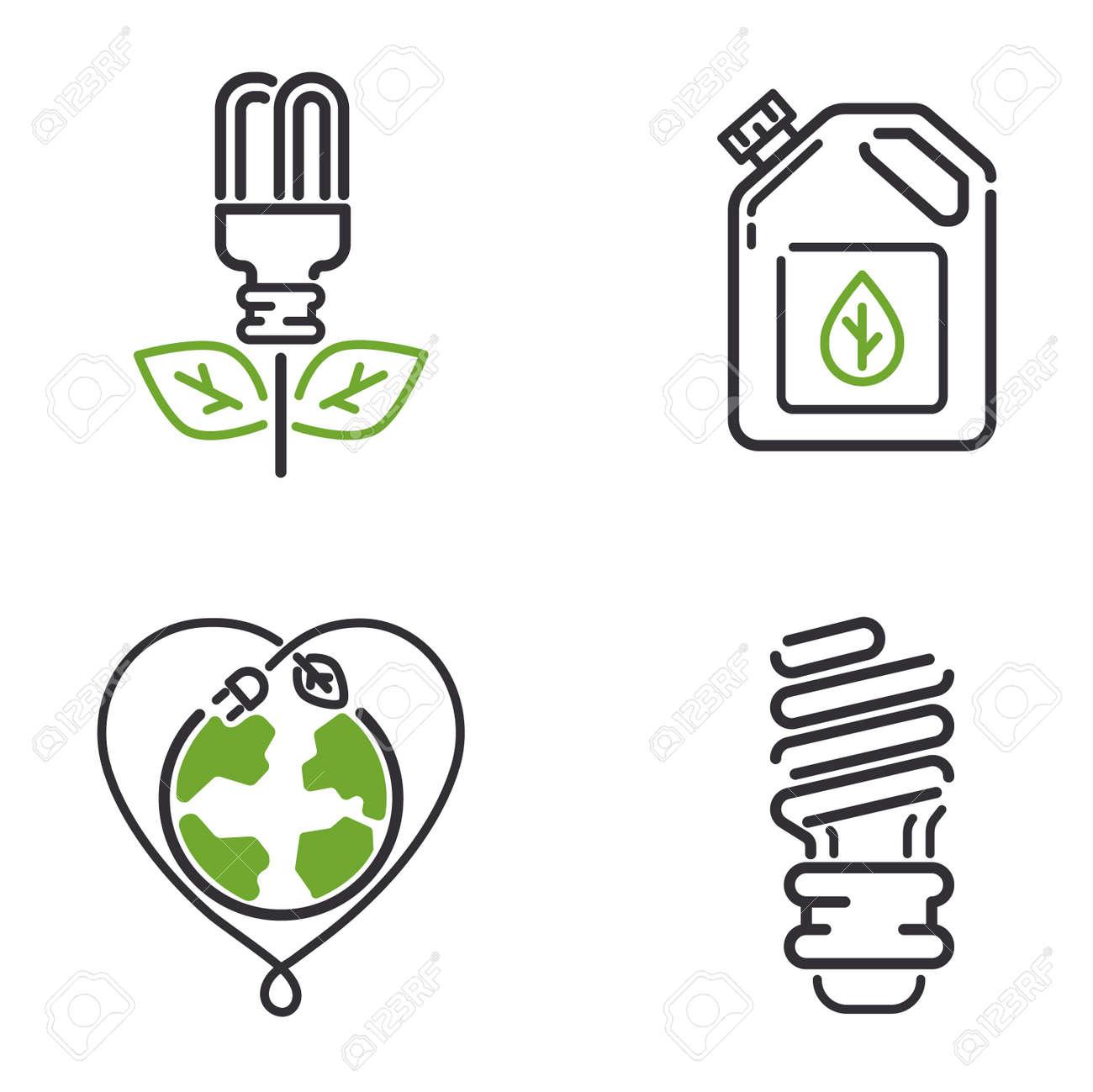 Vector Grüne Öko-Energie-Icons Gesetzt. Energie-Symbole Leistung ...