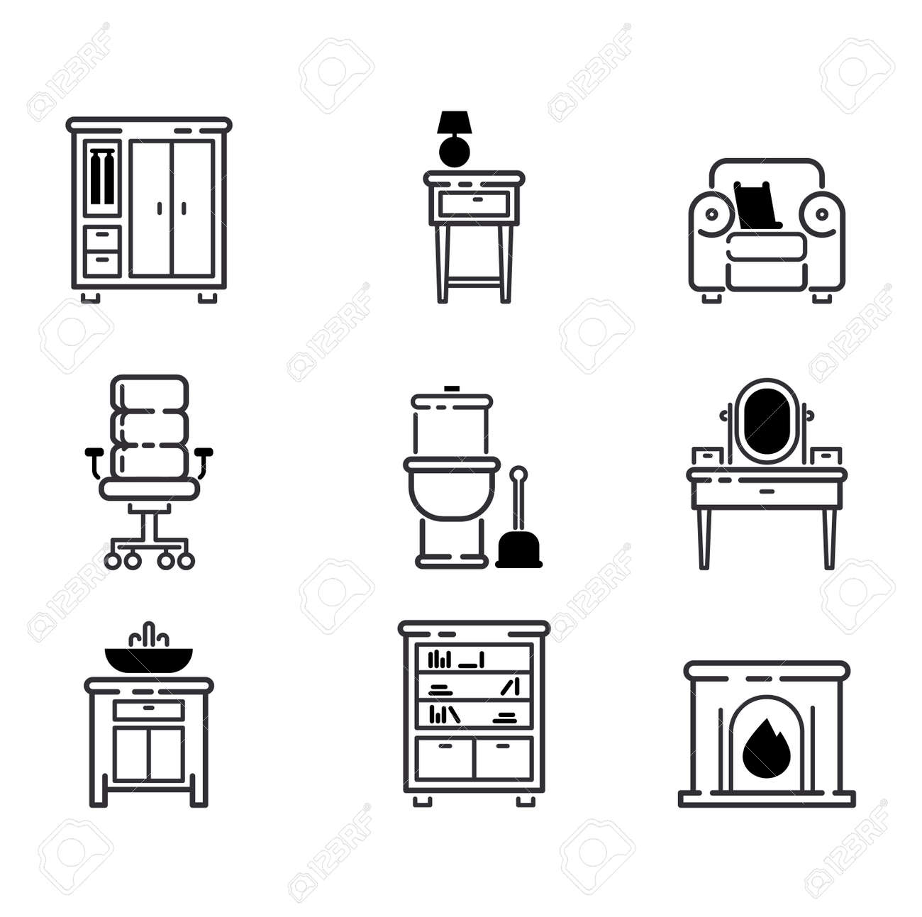 Furniture And Home Decor Icon Set Vector Illustration. Indoor Cabinet  Interior Room Library, Office
