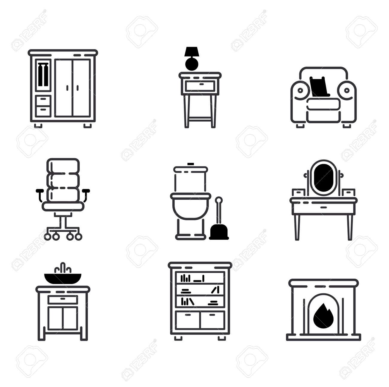 Banque dimages meubles et décoration de la maison icon set vector illustration armoire intérieure bibliothèque de lespace intérieur mobilier de bureau