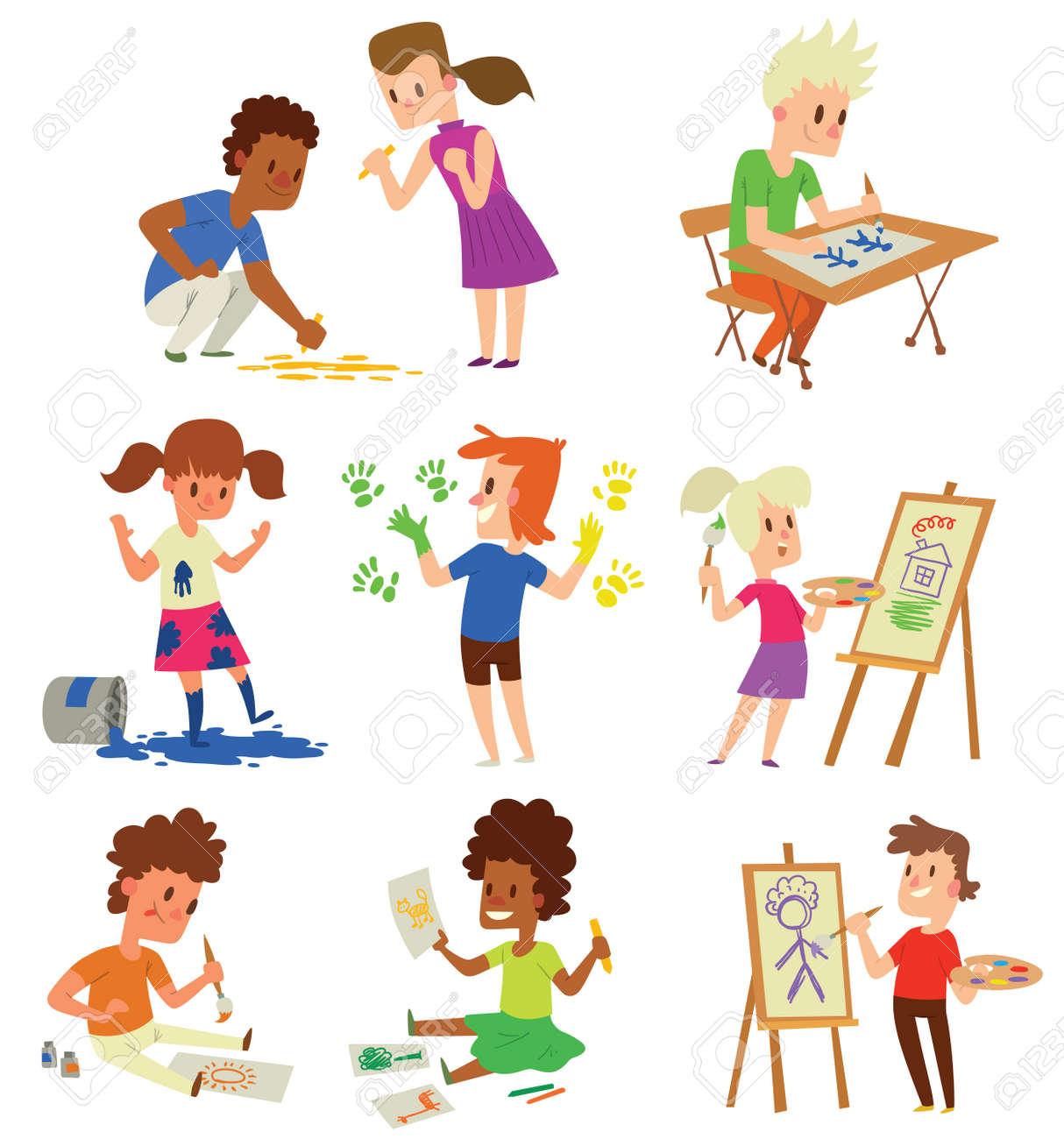 Los Niños Del Muchacho Y De La Muchacha Del Artista Niños. Educación ...