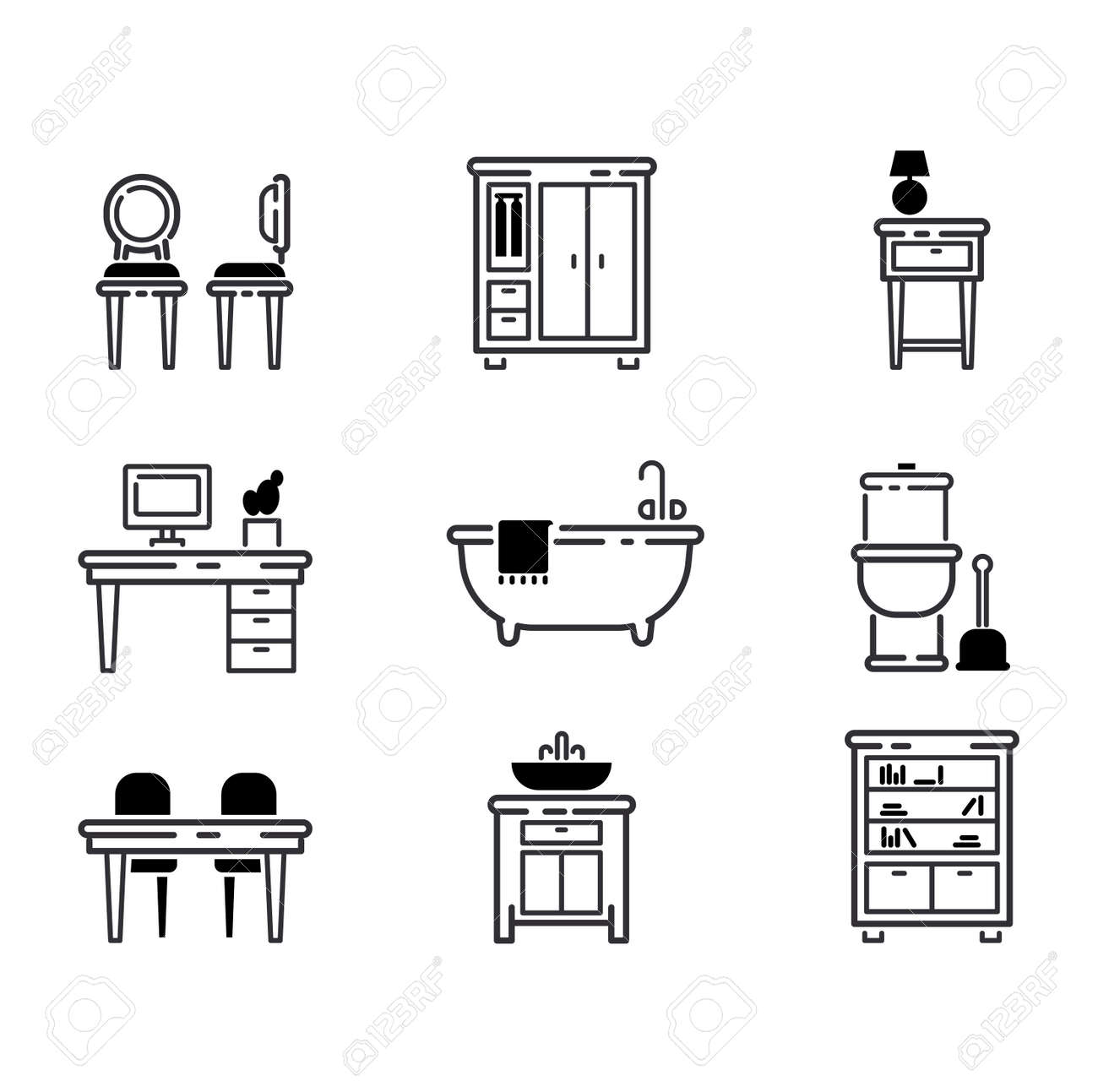Beau Furniture And Home Decor Icon Set Vector Illustration. Indoor Cabinet  Interior Room Library, Office
