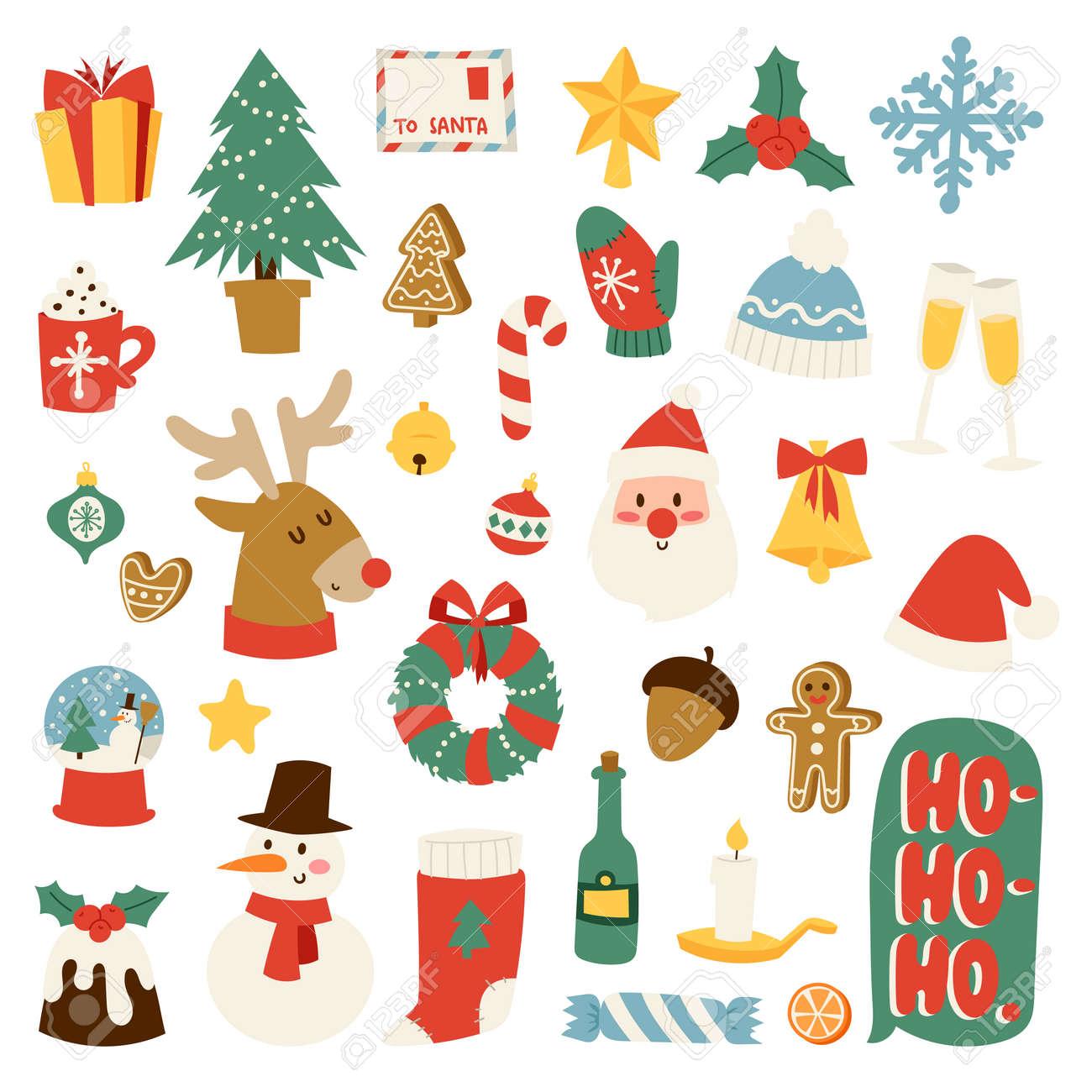 Christmas Greeting Card Symbols Vector Winter Celebration Design ...