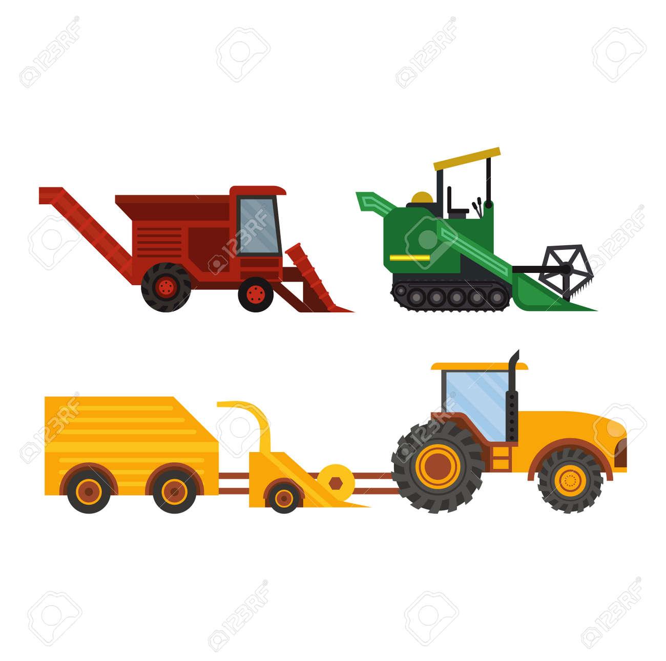 Agriculture Matériel agricole industriel, tracteurs de machines et de l'équipement combine pelles agricole, vecteur de machines de collection. ferme