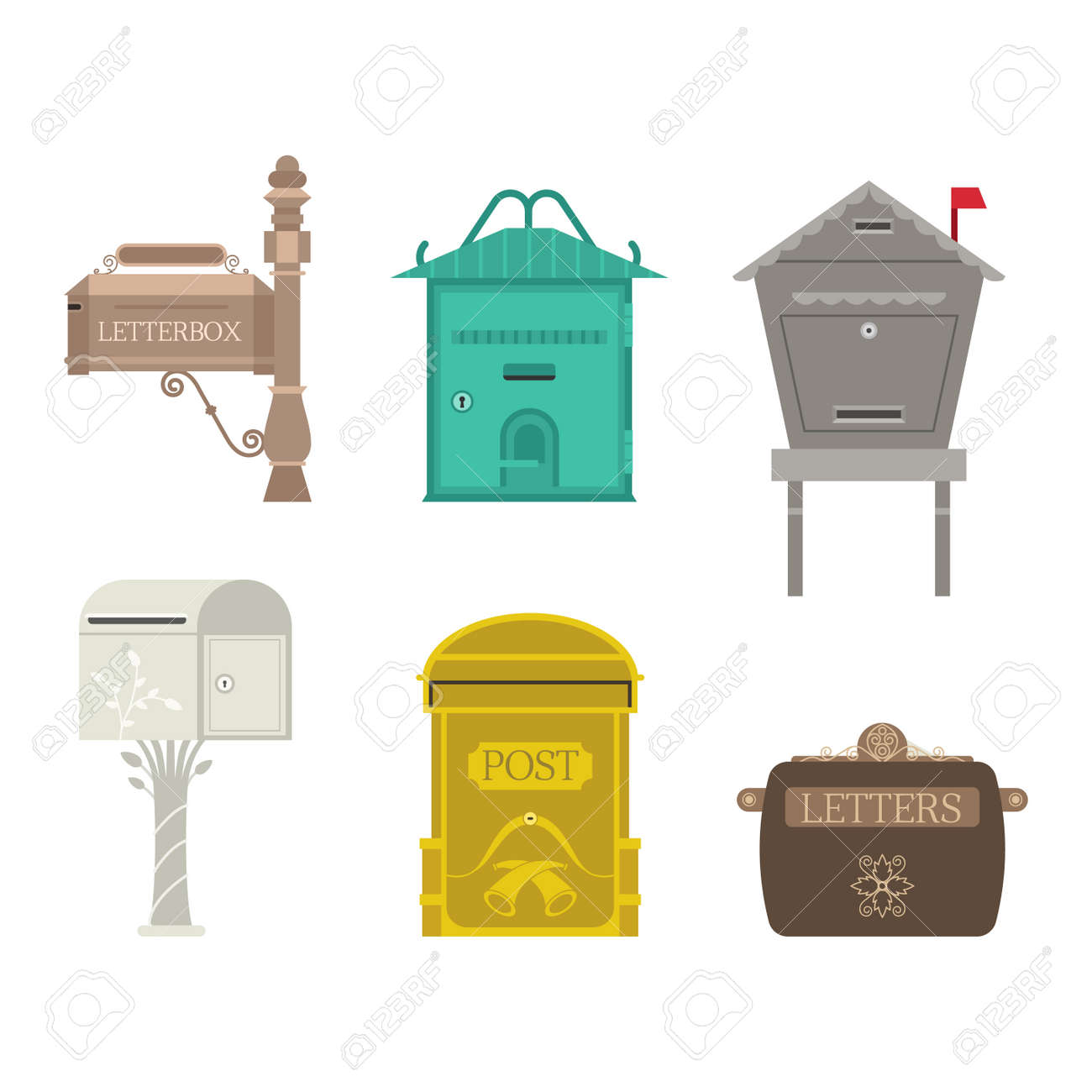 closed mailbox. Beautiful Rural Curbside Open And Closed Mailboxes With Semaphore Flag Vector Illustration. Traditional Communication Empty Mailbox