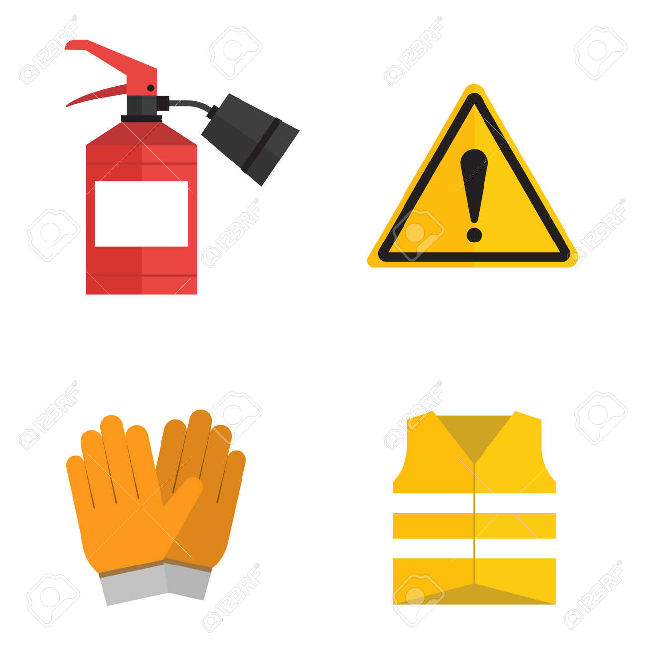 safety work icons flat style safety icons vector illustration