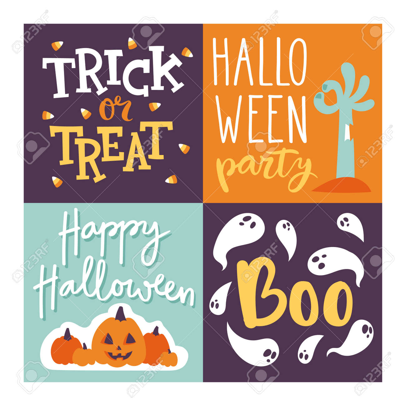 Set Of Happy Halloween Greeting Card Vector Illustration Party