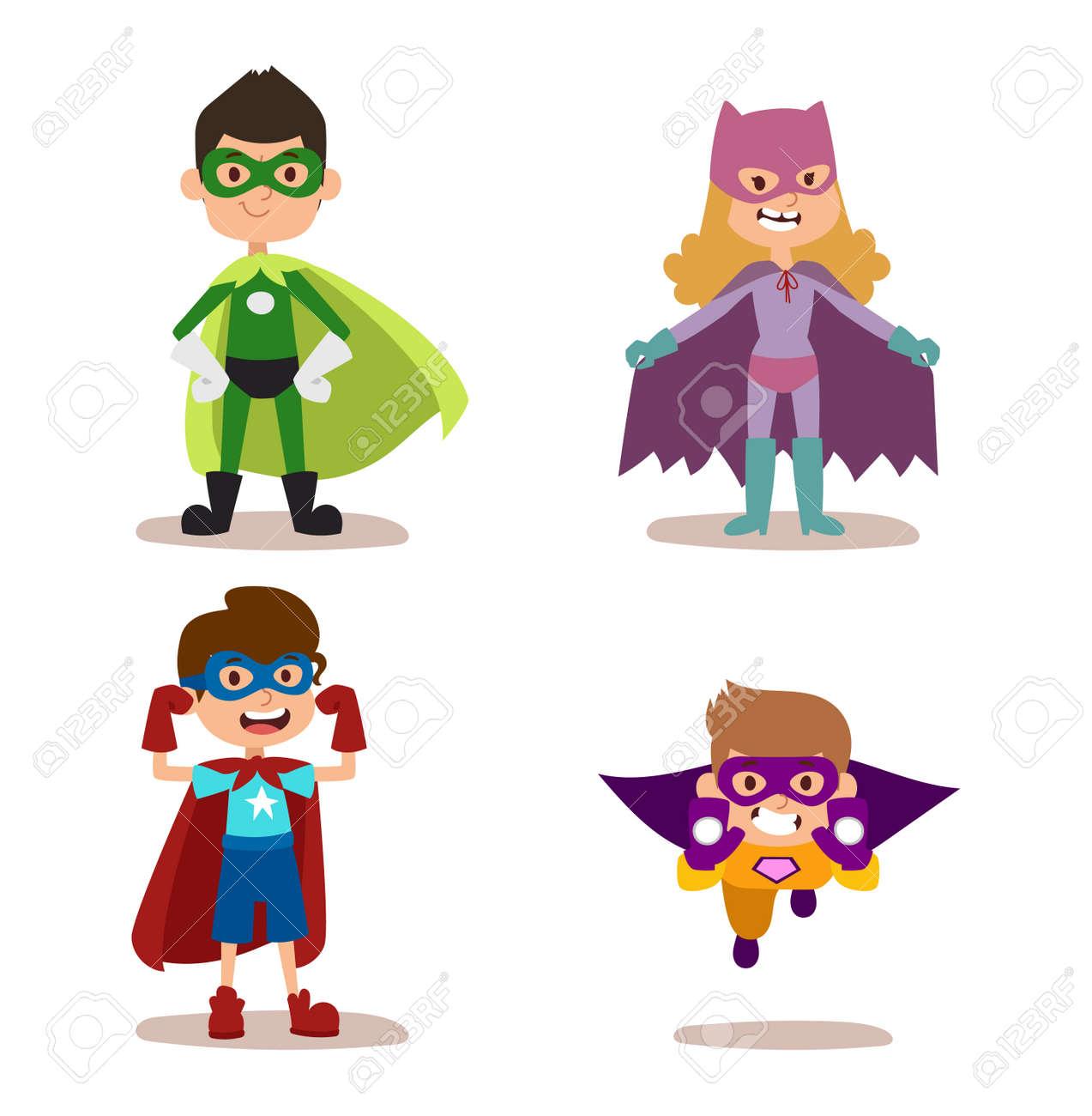 Superhero Kids Boys And Girls Cartoon Vector Illustration. Super ...