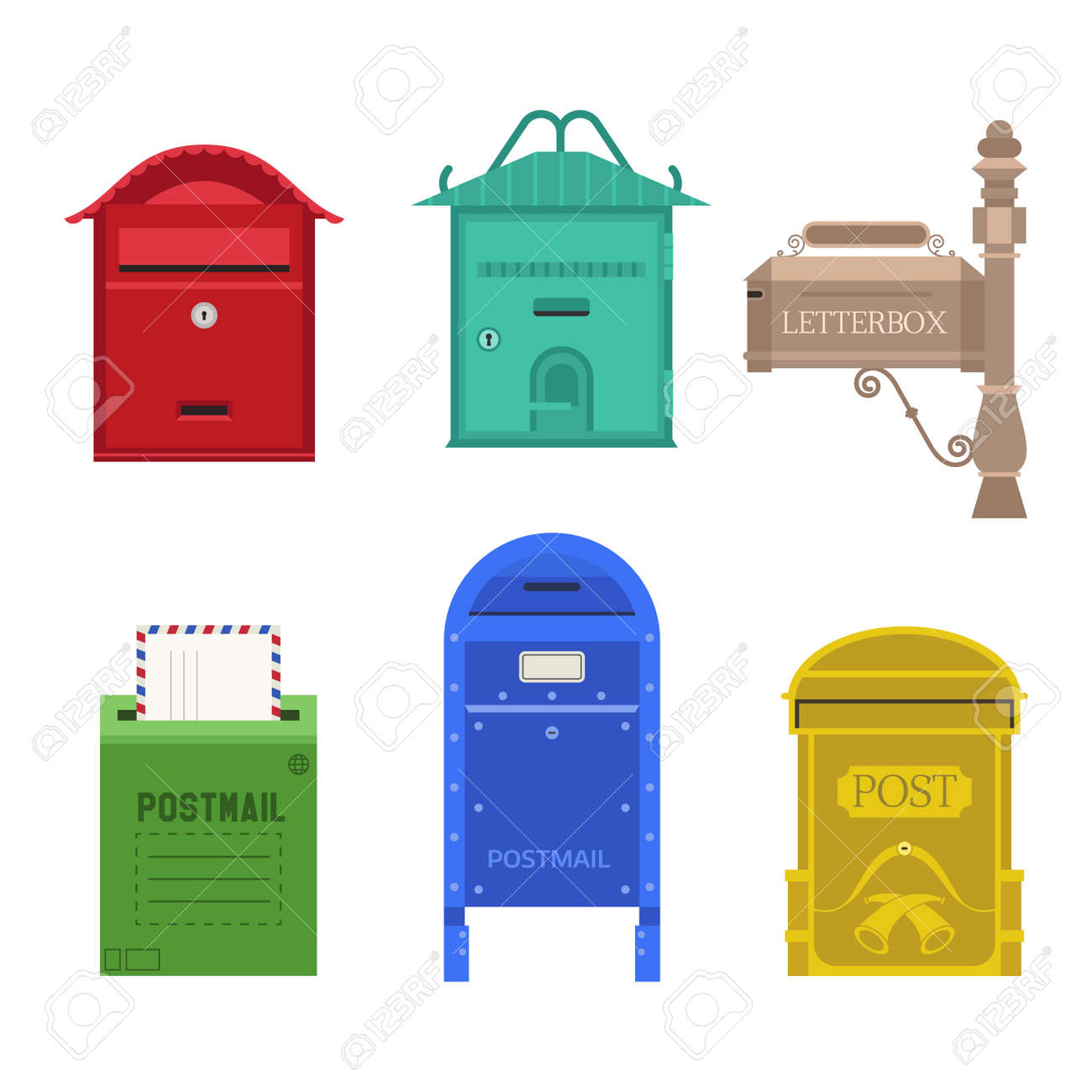 Beautiful Rural Curbside Open And Closed Mailboxes With Semaphore
